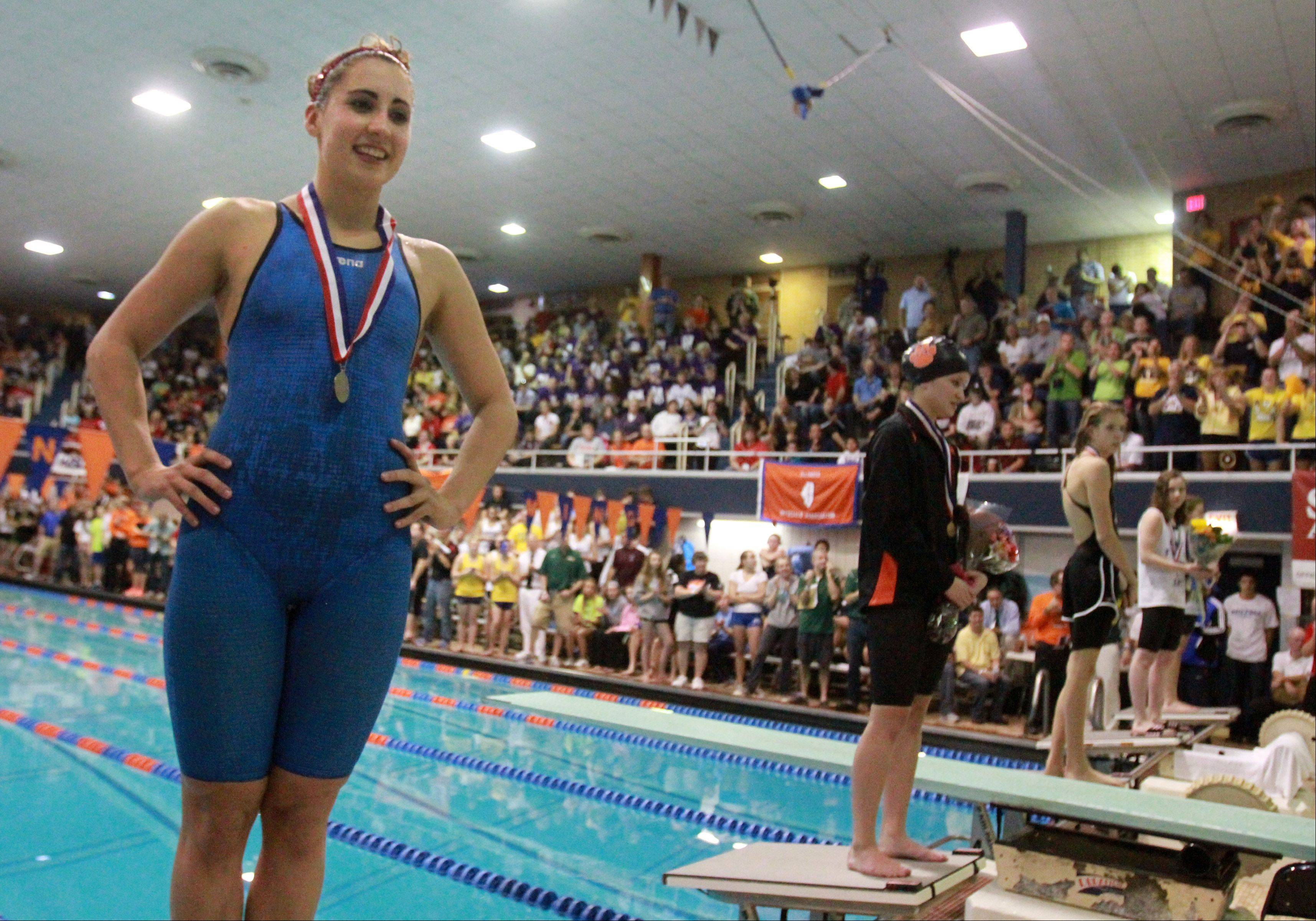 Naperville Central's Julia Roller placed second in the 200-yard freestyle at the IHSA state championships in Evanston on Saturday.