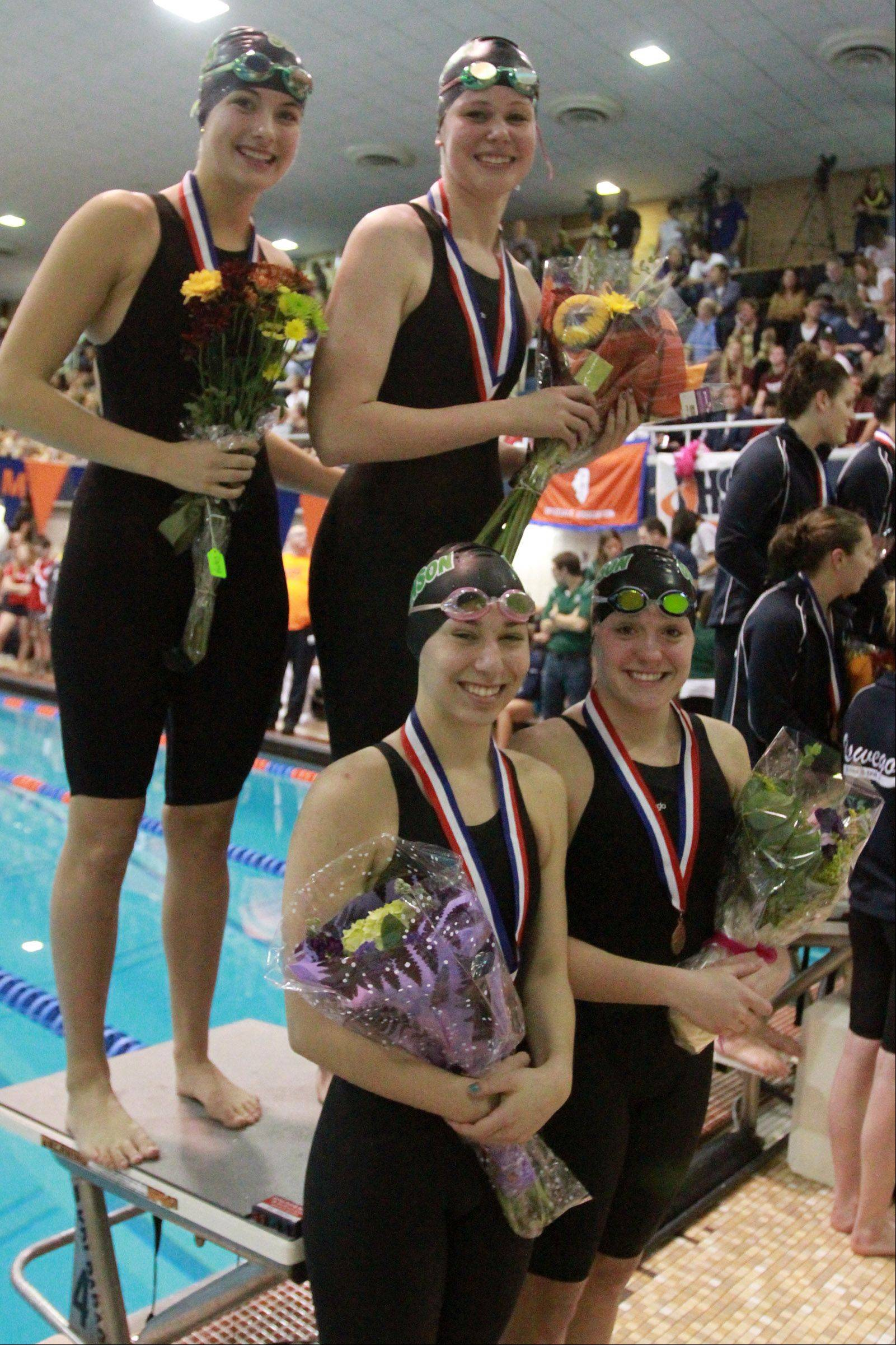 Stevenson's Madison Blaydes, Leah Bloodgood, Rebecca Hannon, and Casey Kirby placed tenth in the 200-yard medley relay at the IHSA state championships in Evanston on Saturday.