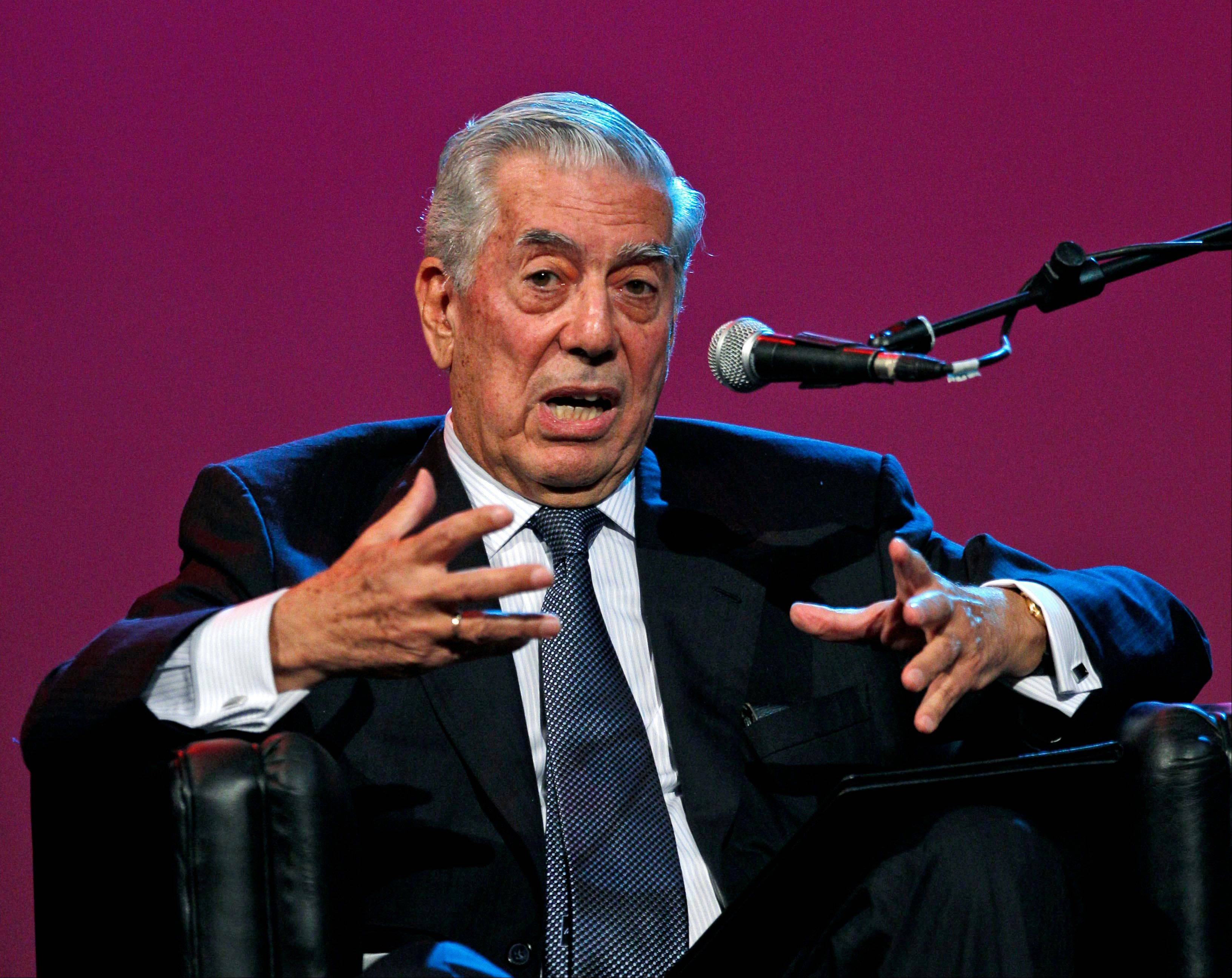 Nobel Literature Prize laureate Mario Vargas Llosa, of Peru, speaking during a conference at the annual book fair in Buenos Aires, Argentina.