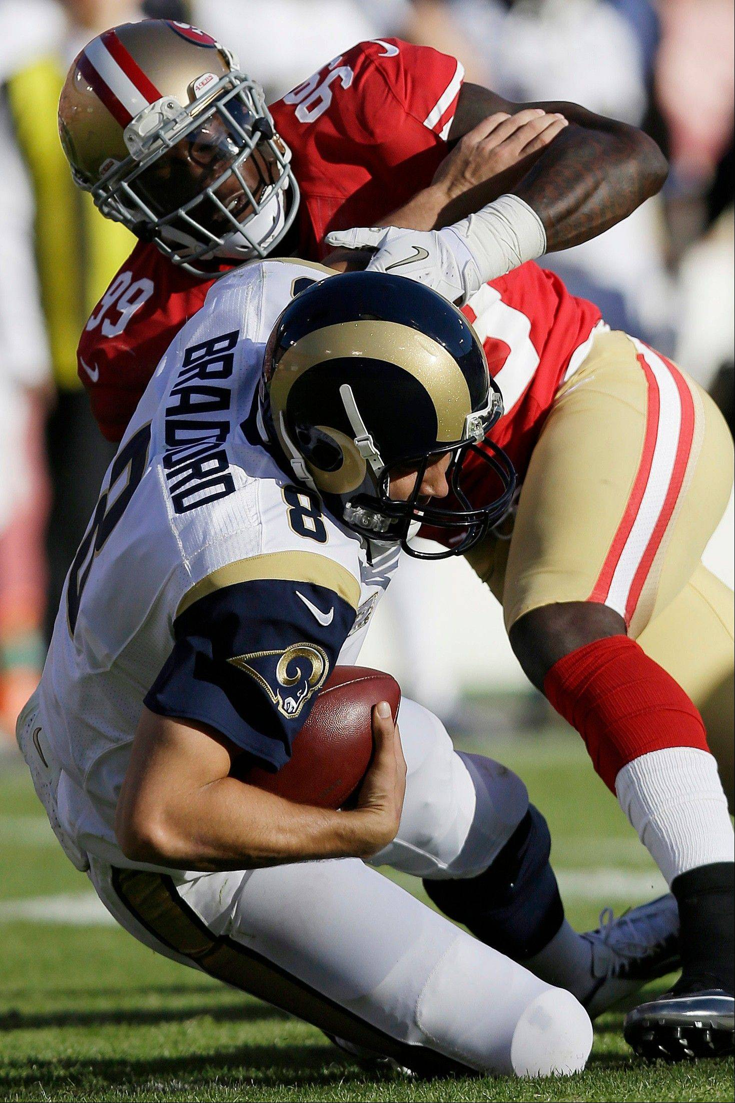 Rams quarterback Sam Bradford is sacked by 49ers outside linebacker Aldon Smith in last Sunday's game at San Francisco.