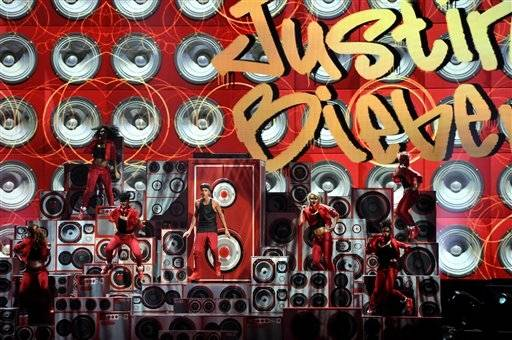 Justin Bieber performs toward the end of the AMAs.