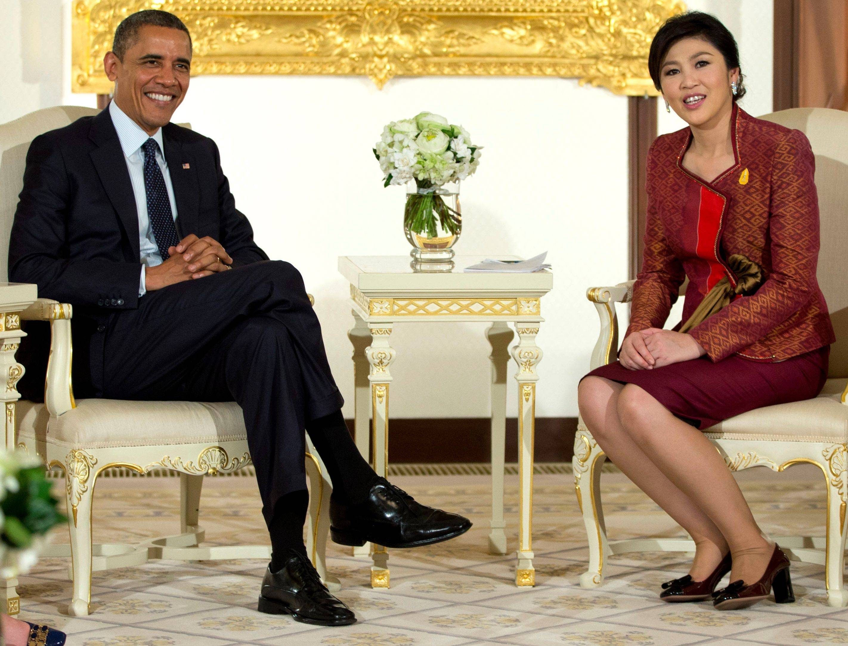 President Barack Obama and Thai Prime Minister Yingluck Shinawatra meet at the Government House in Bangkok on Sunday.