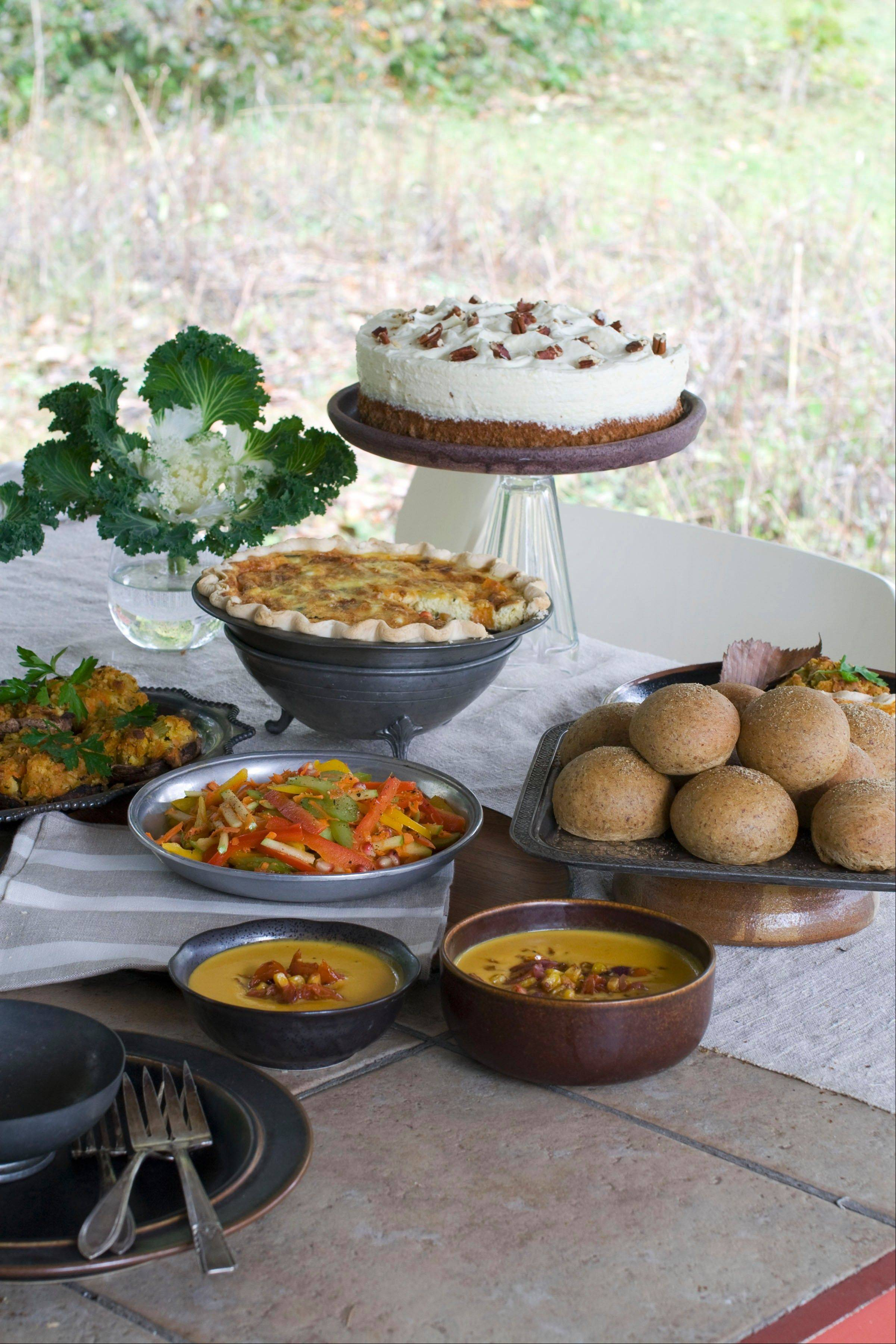 You won't miss turkey with hearty fare like red bell pepper and apple slaw, flax rolls, roasted vegetable quiche, corn bread stuffing mushrooms and squash bisque and lemon pecan mousse cake on the Thanksgiving table.