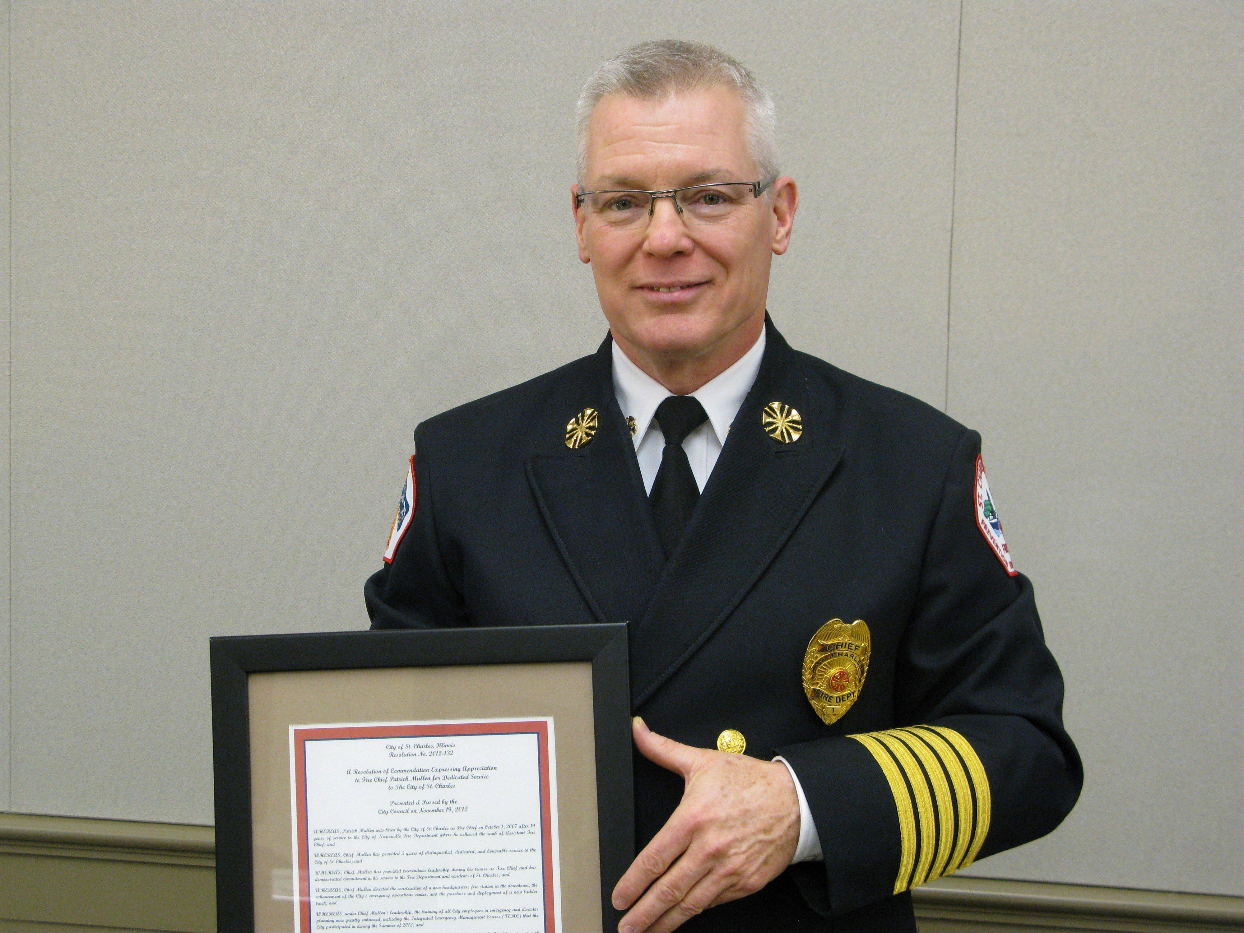 St. Charles Fire Chief Patrick Mullen is retiring at the end of November. A replacement has not yet been named.