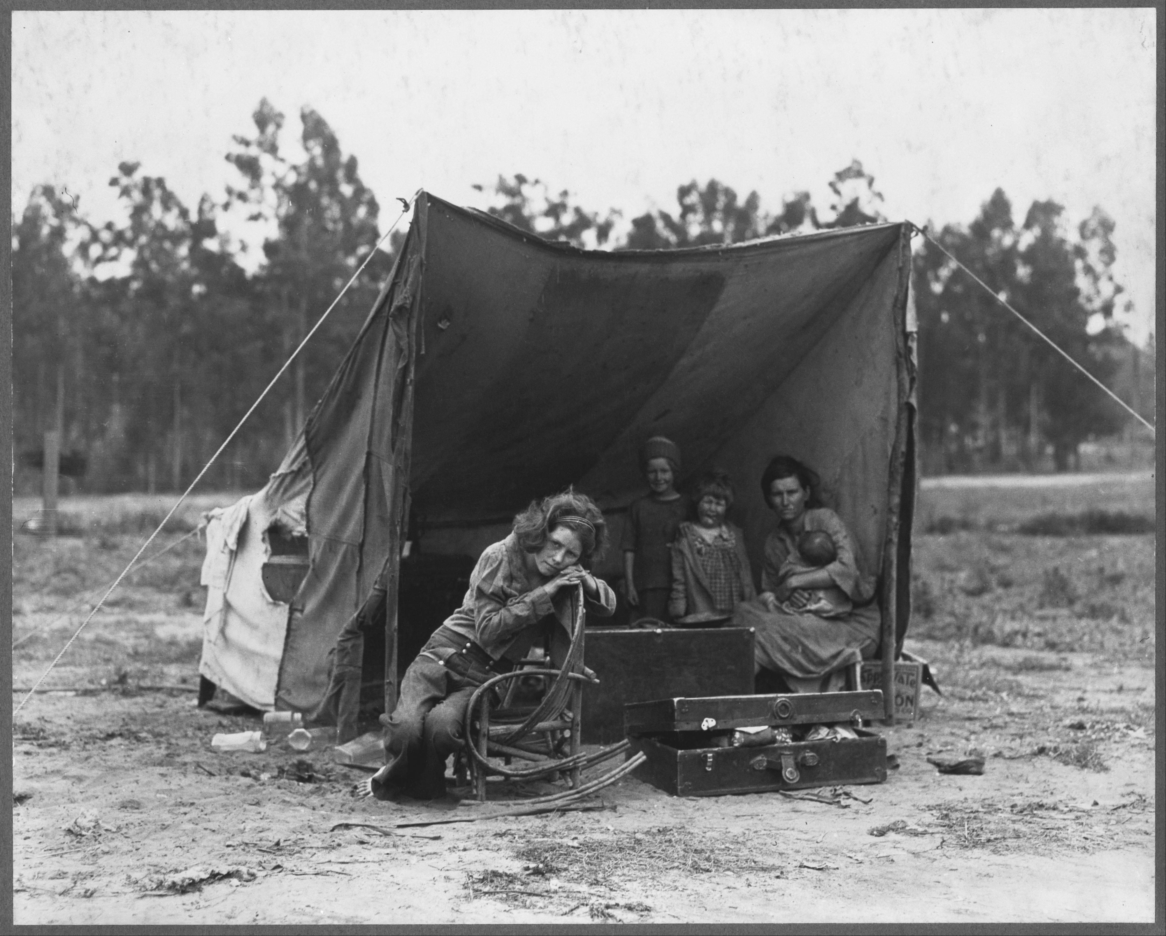 "FSA photographer Dorothea Lange came across Florence Thompson and her children in a pea pickers' camp in Nipomo, Calif., in March 1936. During the decade of the Great Depression, California's population grew by more than 20 percent, an increase of 1.3 million people. Some of their stories are told in Ken Burns' ""The Dust Bowl,"" airing on PBS."
