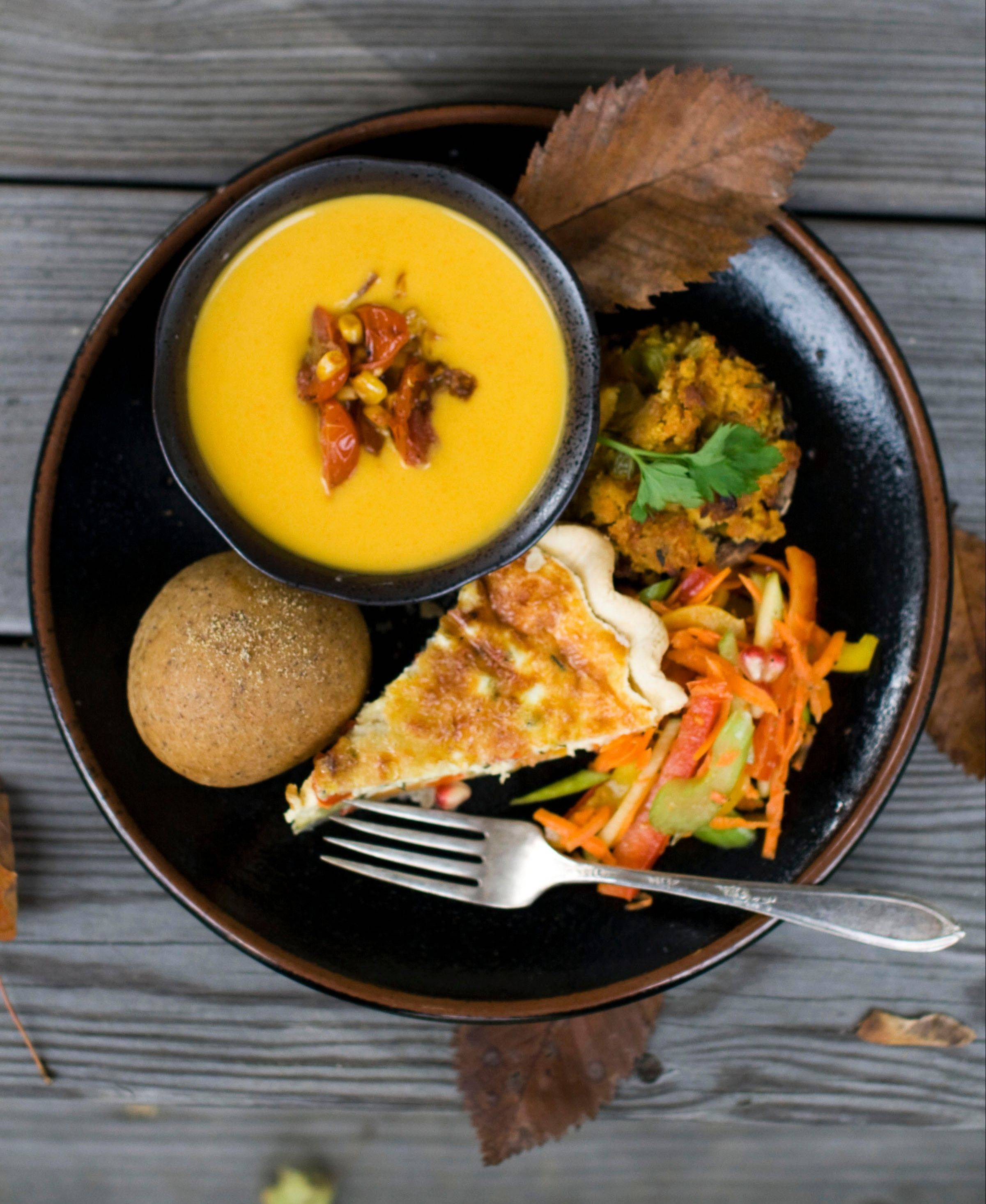 You won't miss turkey with hearty fare like red bell pepper and apple slaw, flax rolls, roasted vegetable quiche, corn bread stuffing mushrooms and squash bisque on the Thanksgiving table.