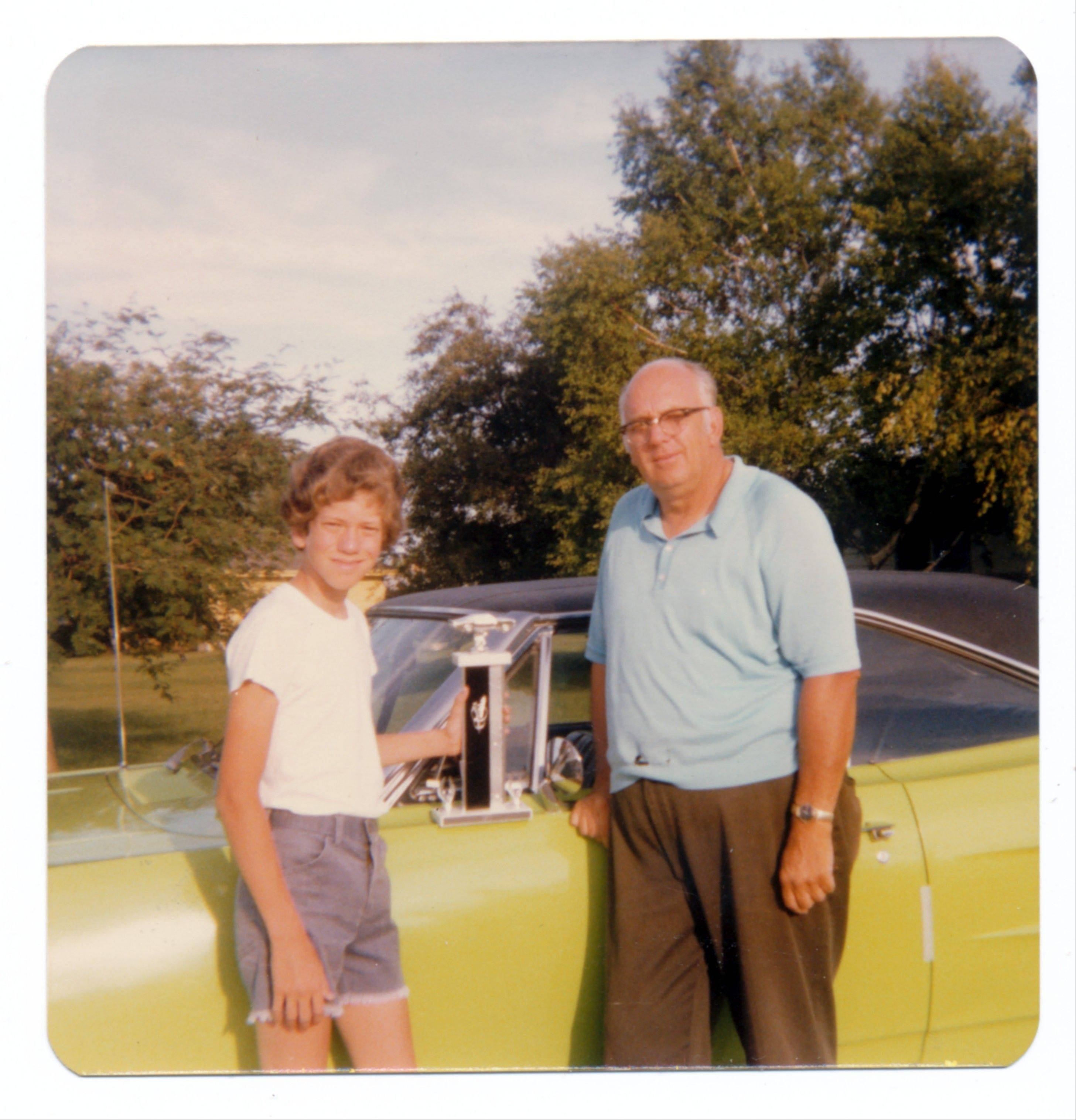 Doug Schellinger and his father, Monroe, after taking the Superbird to a car show in the summer of 1977.