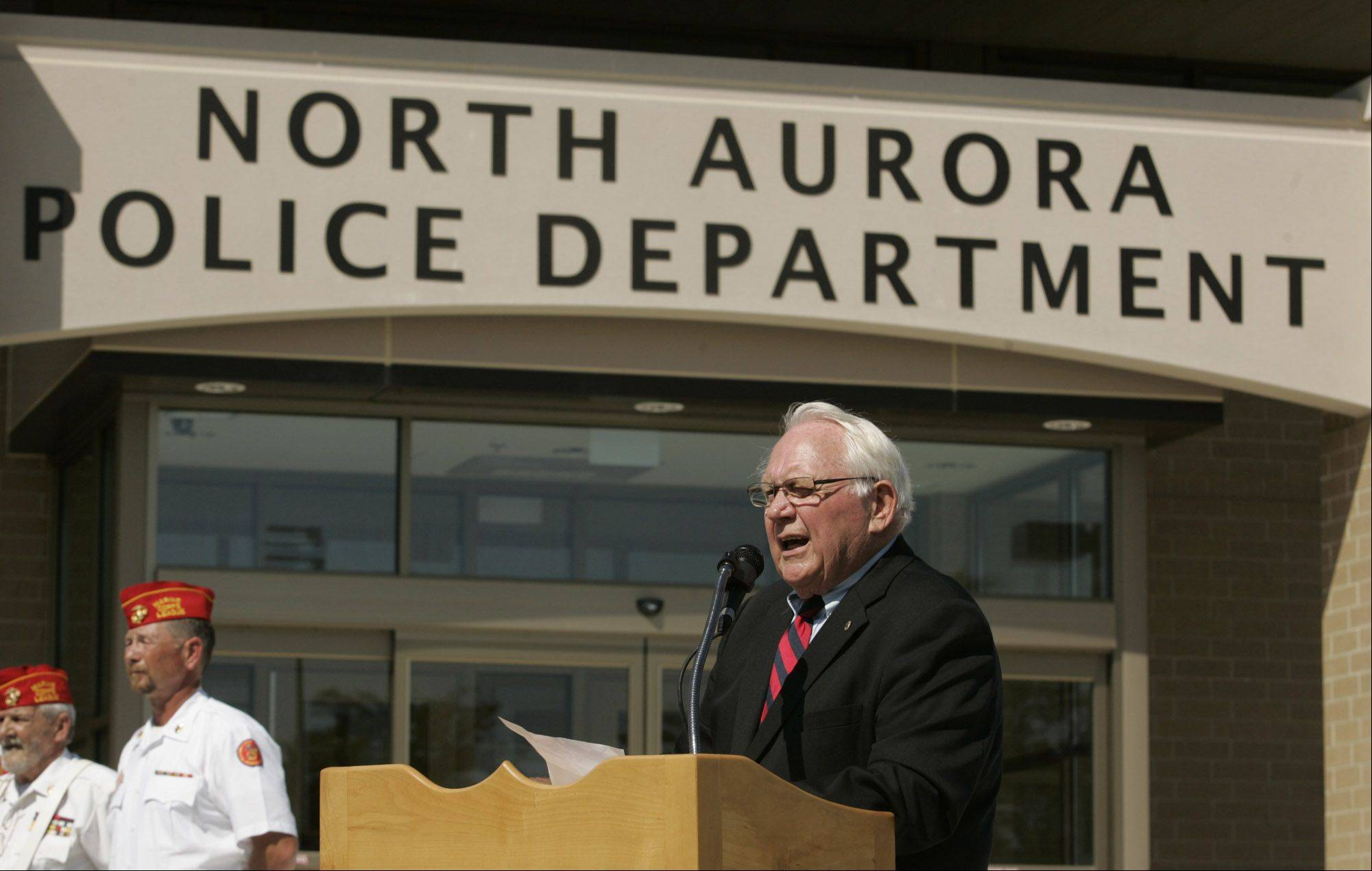 CHRISTOPHER HANKINS/chankins@dailyherald.comNorth Aurora Village President Dale Berman presides during an open house at the new police station in September 2010.