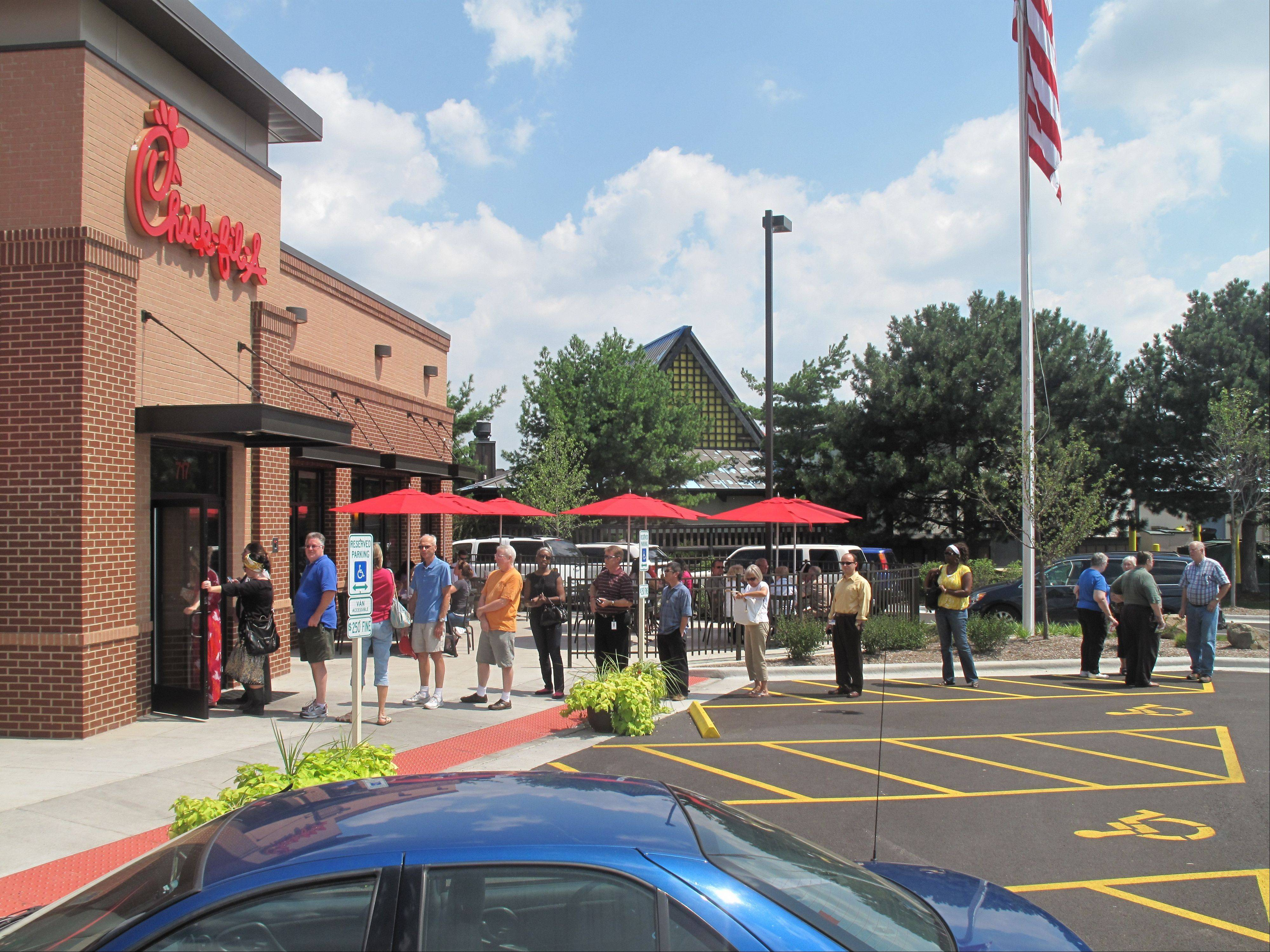 This crowd lined up for Chick-fil-A's grand opening in Lombard in March. The company wants to open its second Lake County store in Gurnee.