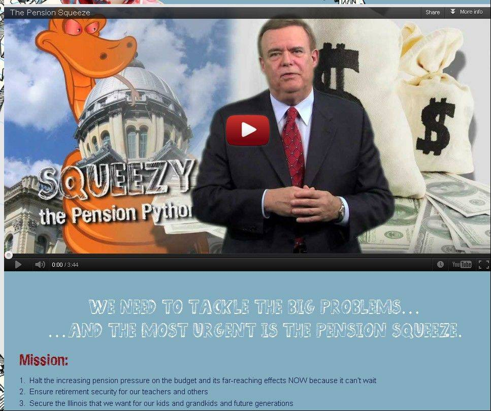 "Gov. Pat Quinn's web campaign for pension reform includes a cartoon snake named ""Squeezy the Pension Python."""