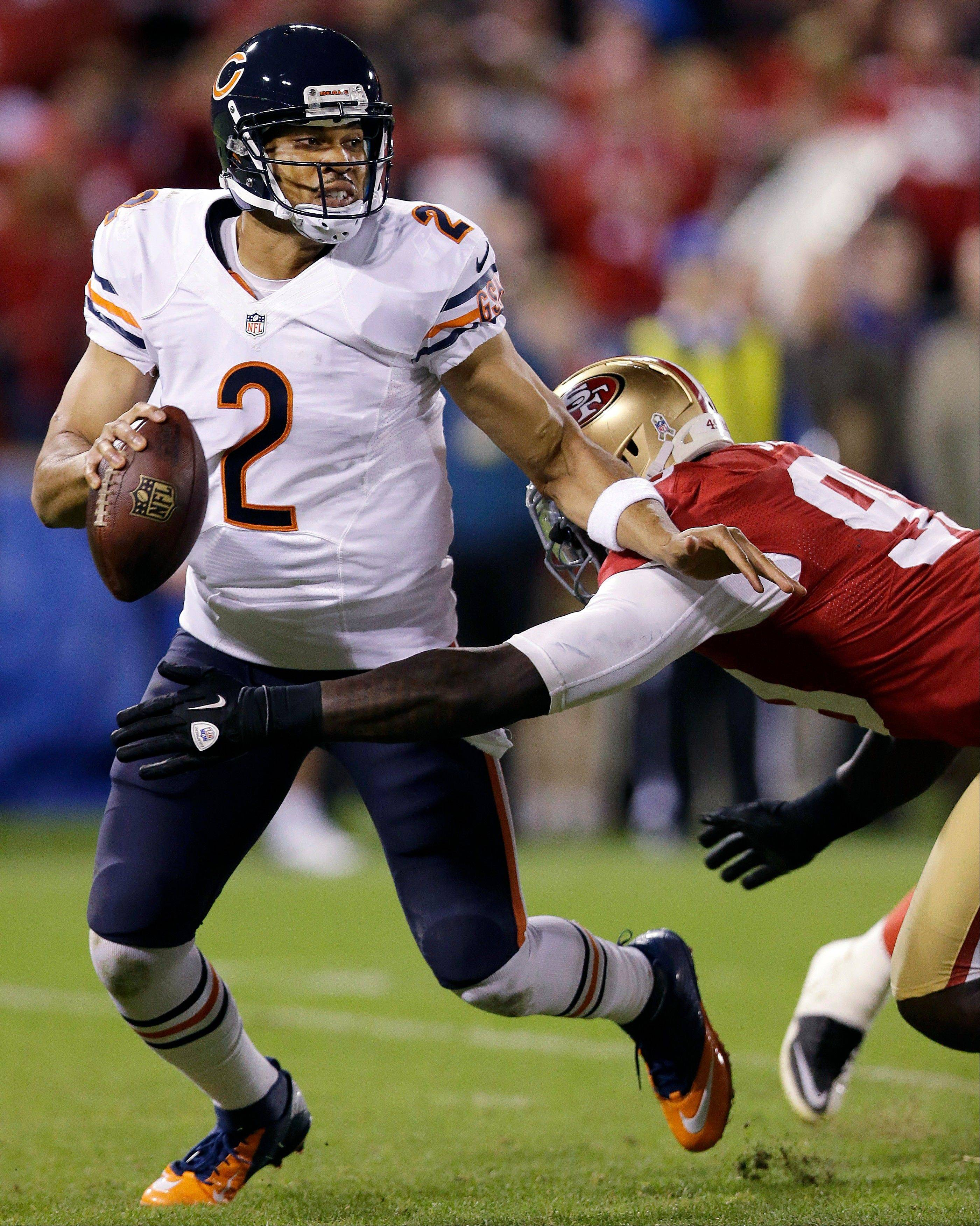 Chicago Bears quarterback Jason Campbell is sacked by San Francisco 49ers linebacker Aldon Smith during the third quarter.