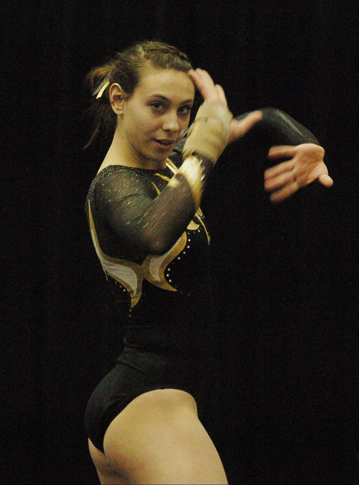 Glenbard North's Mariah Matesi performs her 4th place floor exercise during the girls state gymnastics finals.