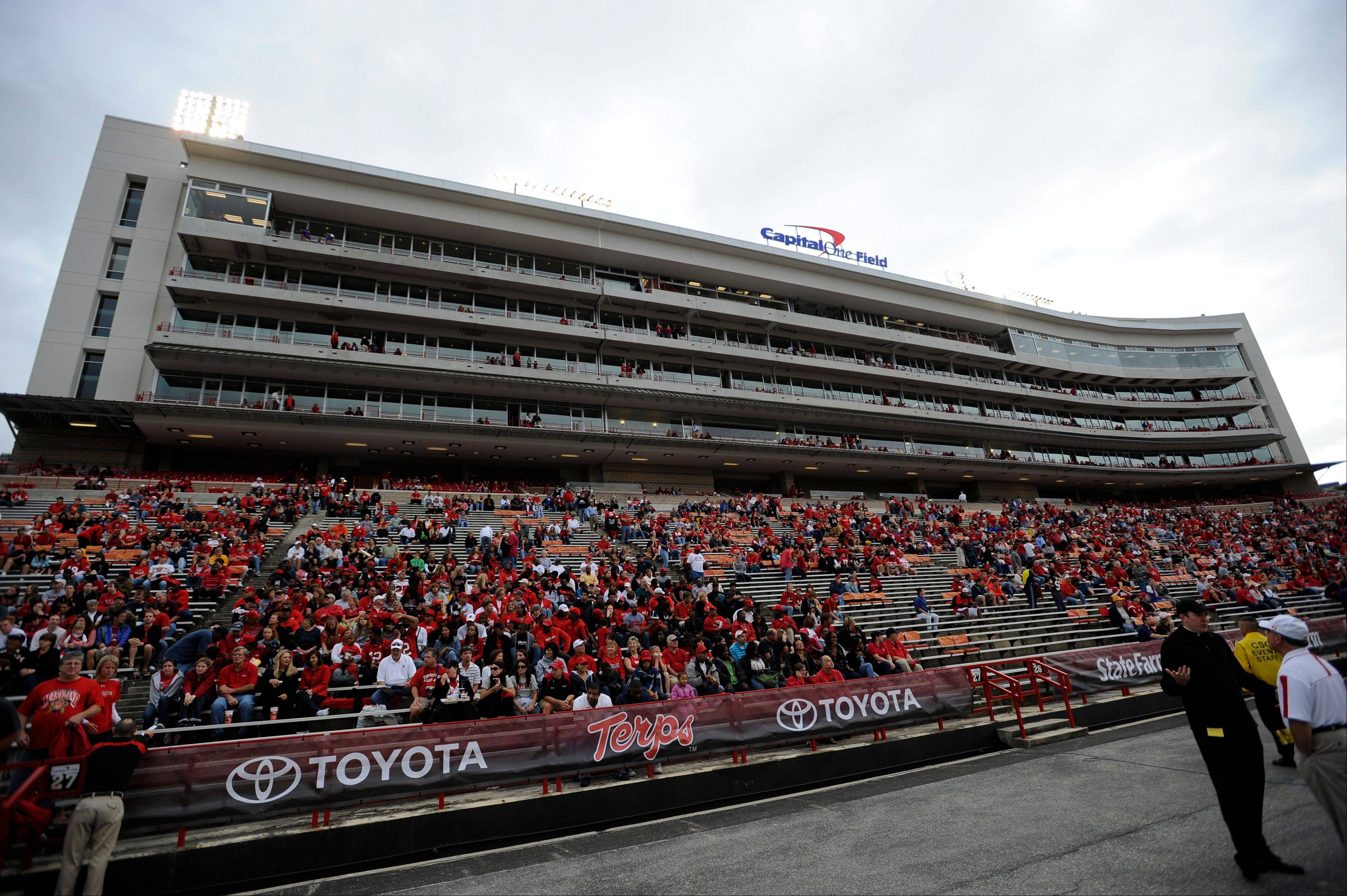 This Sept. 12, 2009 file photo shows Tyser Tower where suites and the press box are located at Capital One Field at Byrd Stadium before an NCAA college football game between Maryland and James Madison in College Park, Md. Maryland is joining the Big Ten, which will give the conference a foothold in the East.