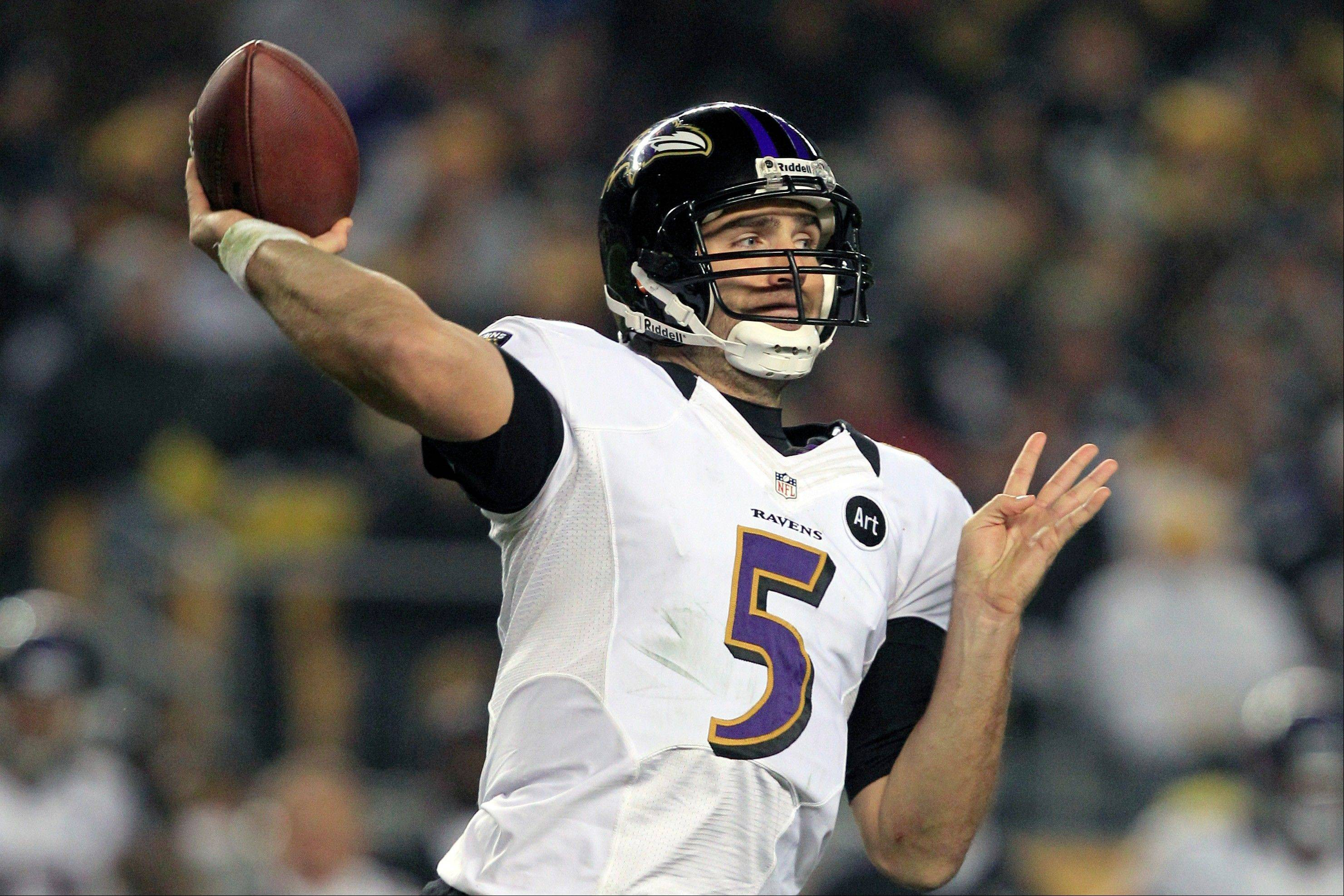 Baltimore Ravens quarterback Joe Flacco (5) passes in the second quarter against the Pittsburgh Steelers in Pittsburgh, Sunday. The Ravens won 13-10.