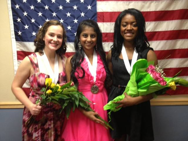Johanna Sveden, Isha Jog, and Nina Strong, overall winners in the Distinguished Young Women of Illinois 2013 Scholarship Program