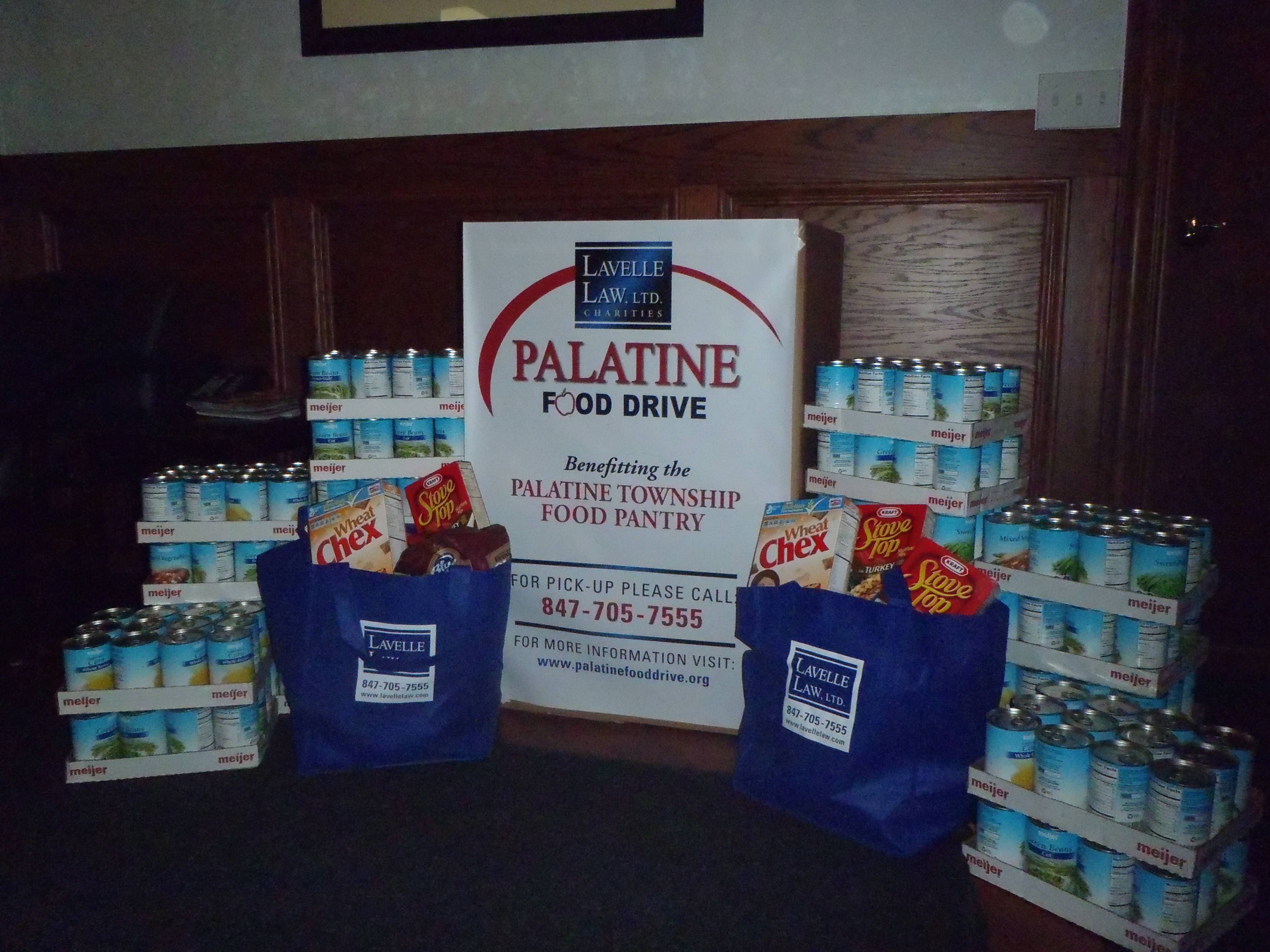 Lavelle Law Charities collection boxes are set up around Palatine to receive donations for the Palatine Food Pantry.