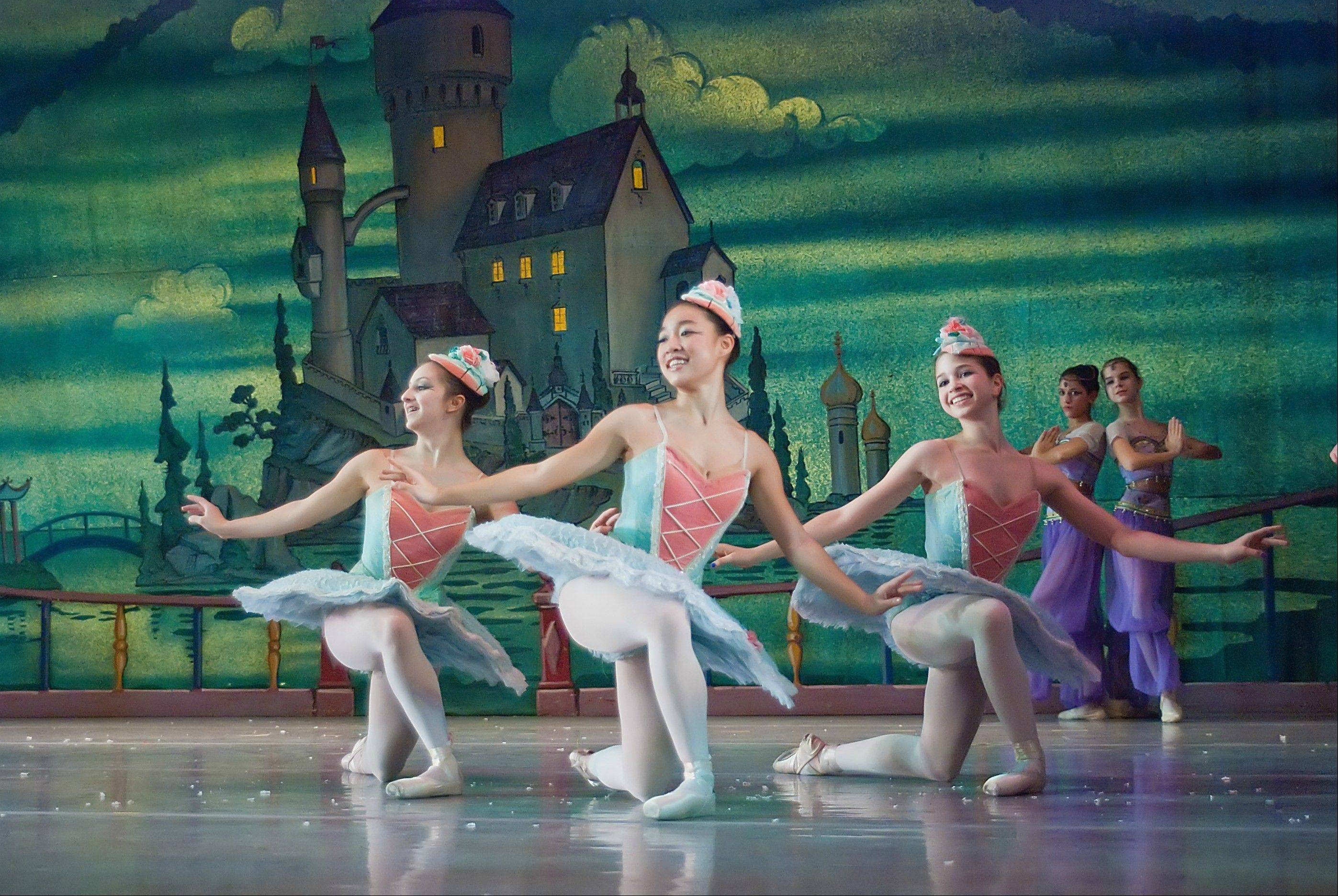 "Dancers portray candy confections in the second act of Salt Creek Ballet's version of the Tchaikovsky ballet ""The Nutcracker,"" which plays in Hinsdale, University Park and Skokie."