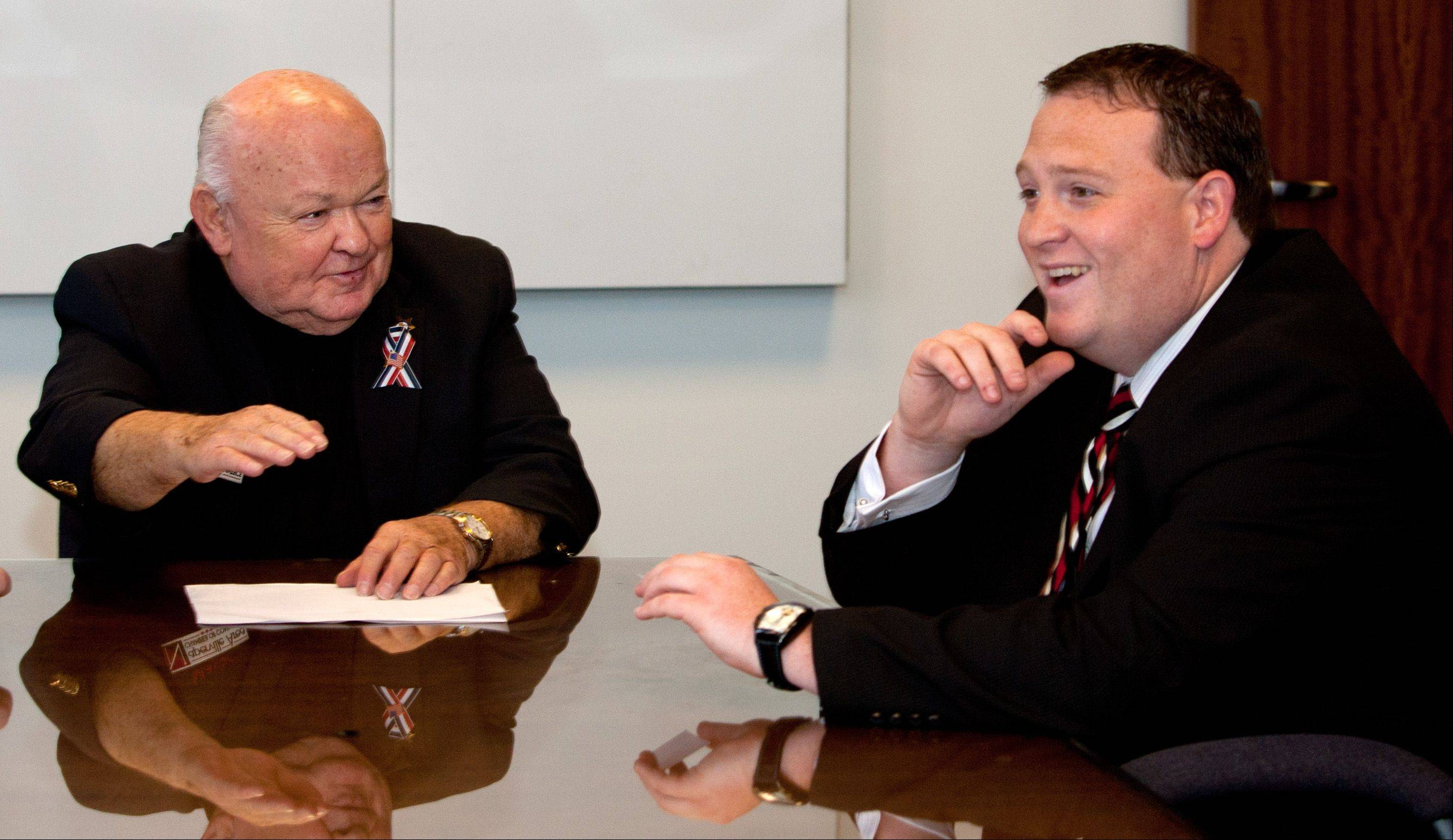 Mike Evans, right, was named Naperville Area Chamber of Commerce president and CEO Tuesday. His first stop was to meet Mayor George Pradel.