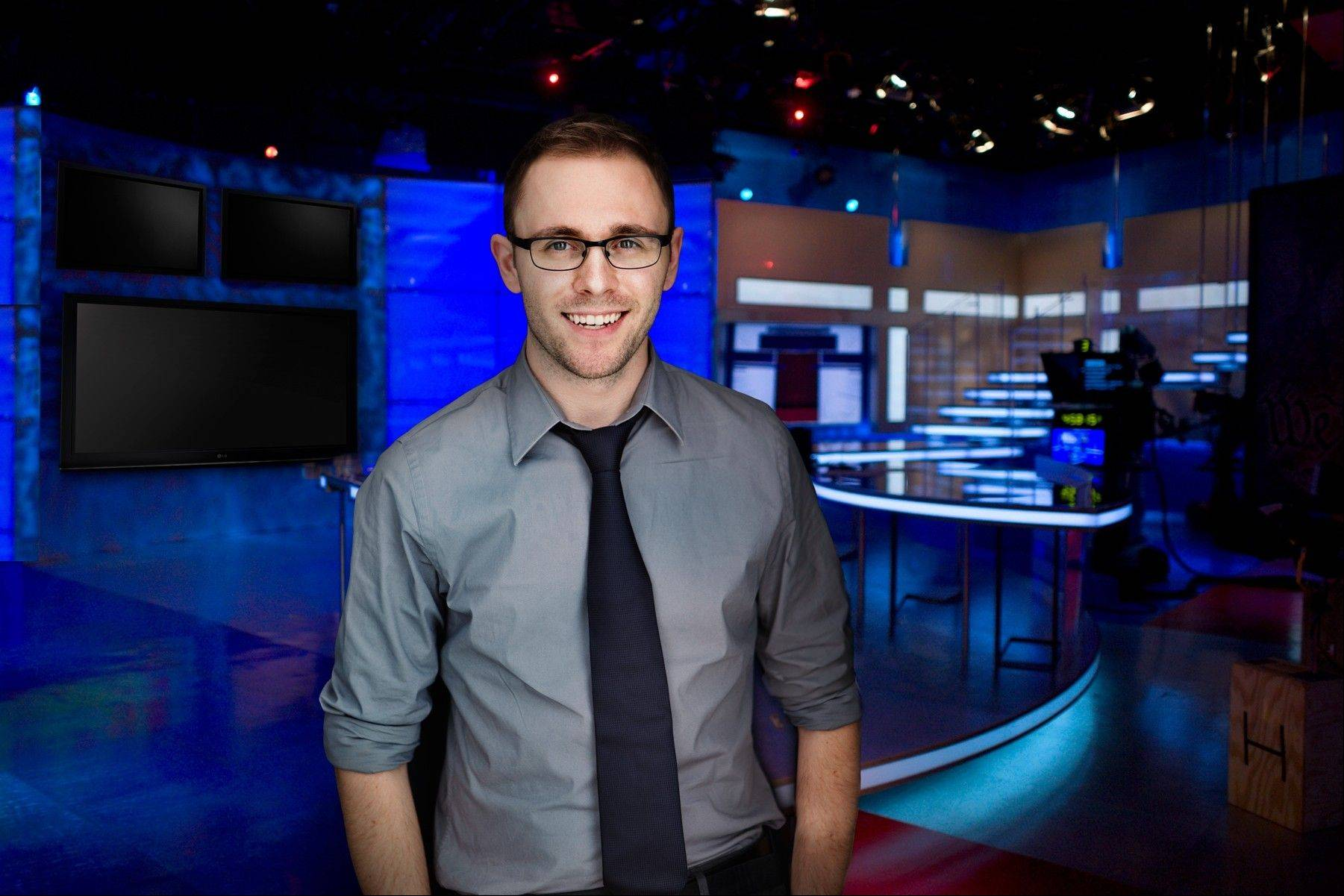 "Brian Tully, 28, who grew up in Long Grove, stands on the set of ""Fox & Friends"" inside the Fox News studios in New York City. The show airs on Fox News Channel, and Tully is the head writer and producer."