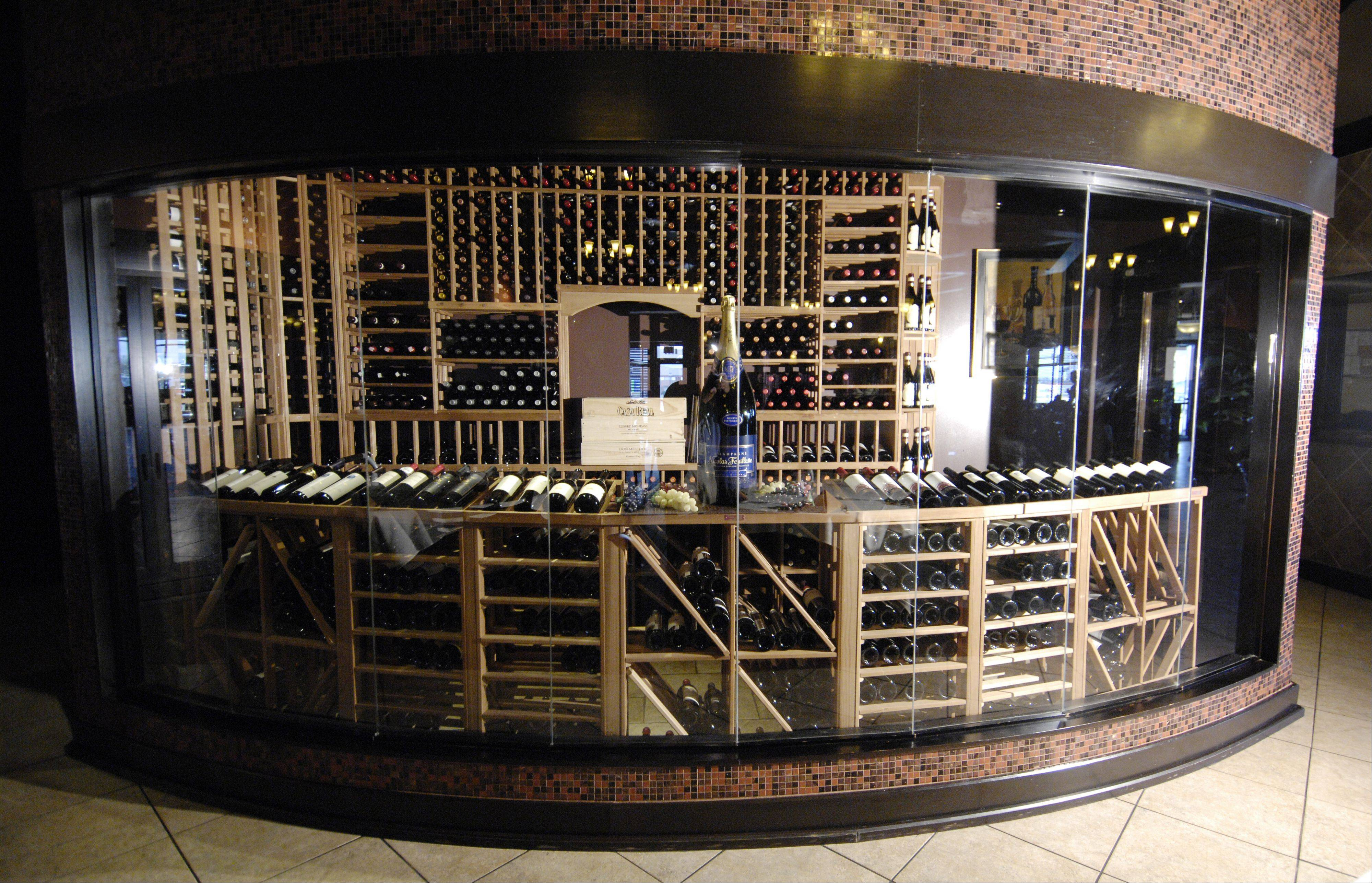 The wine room at Chama Gaucha Brazilian steakhouse in Downers Grove.