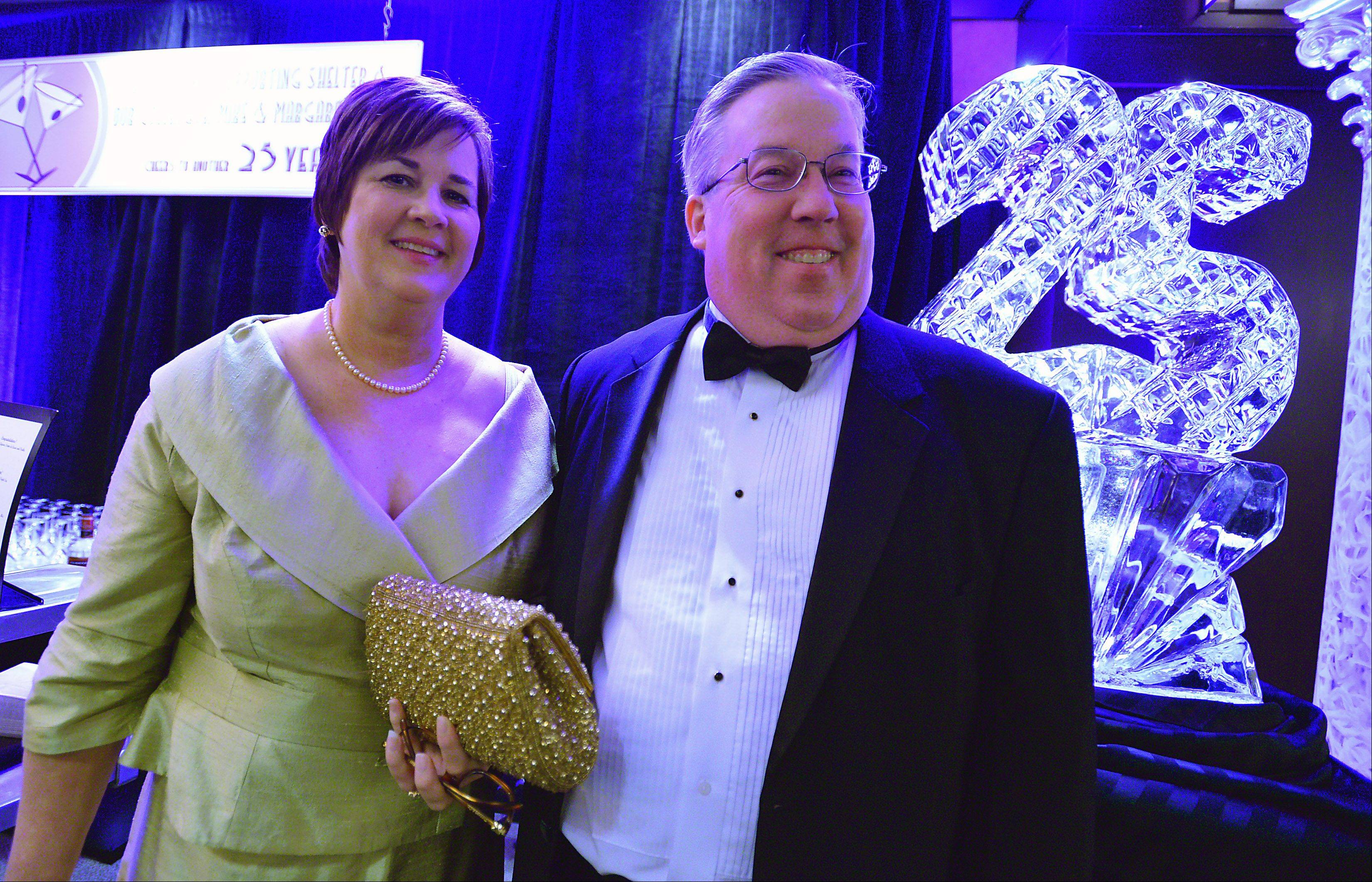 Robert O' Meara, president of the Shelter board, with wife Sue of Barrington Hills attend the 25th anniversary Shelter Charity Ball Friday at the Schaumburg Hyatt. The ball generates the money to open group homes and develop programs for troubled teens.
