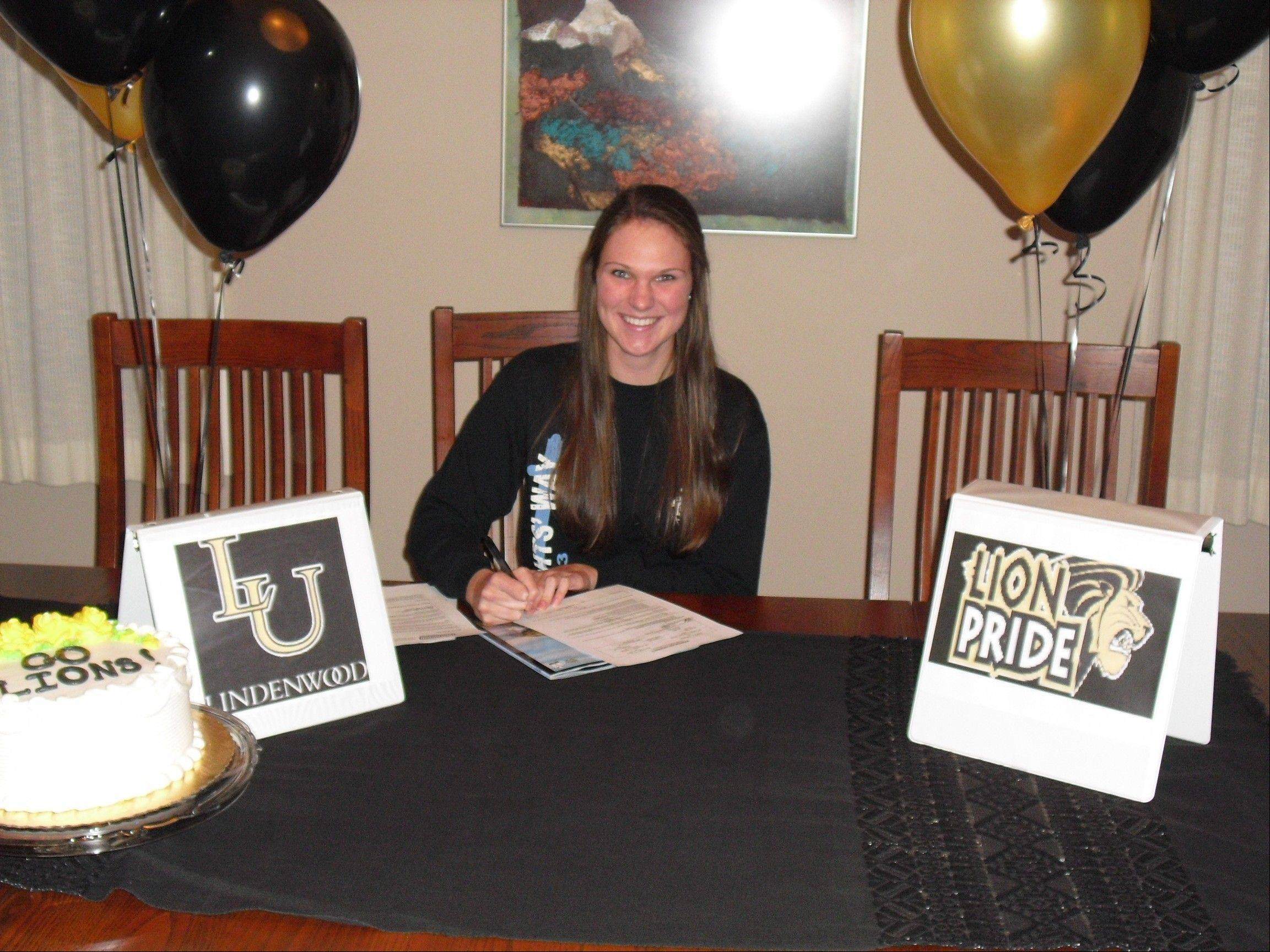 Prospect's Noelle Johnston sign her letter of intent to Lindenwood University.