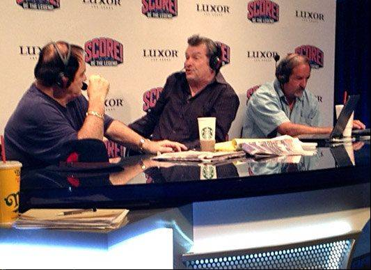"Radio broadcaster Mike North, center, interviewed baseball legend Pete Rose as a trial run for the new ""Score! Be the Legend"" experience the Luxor hotel in Las Vegas."