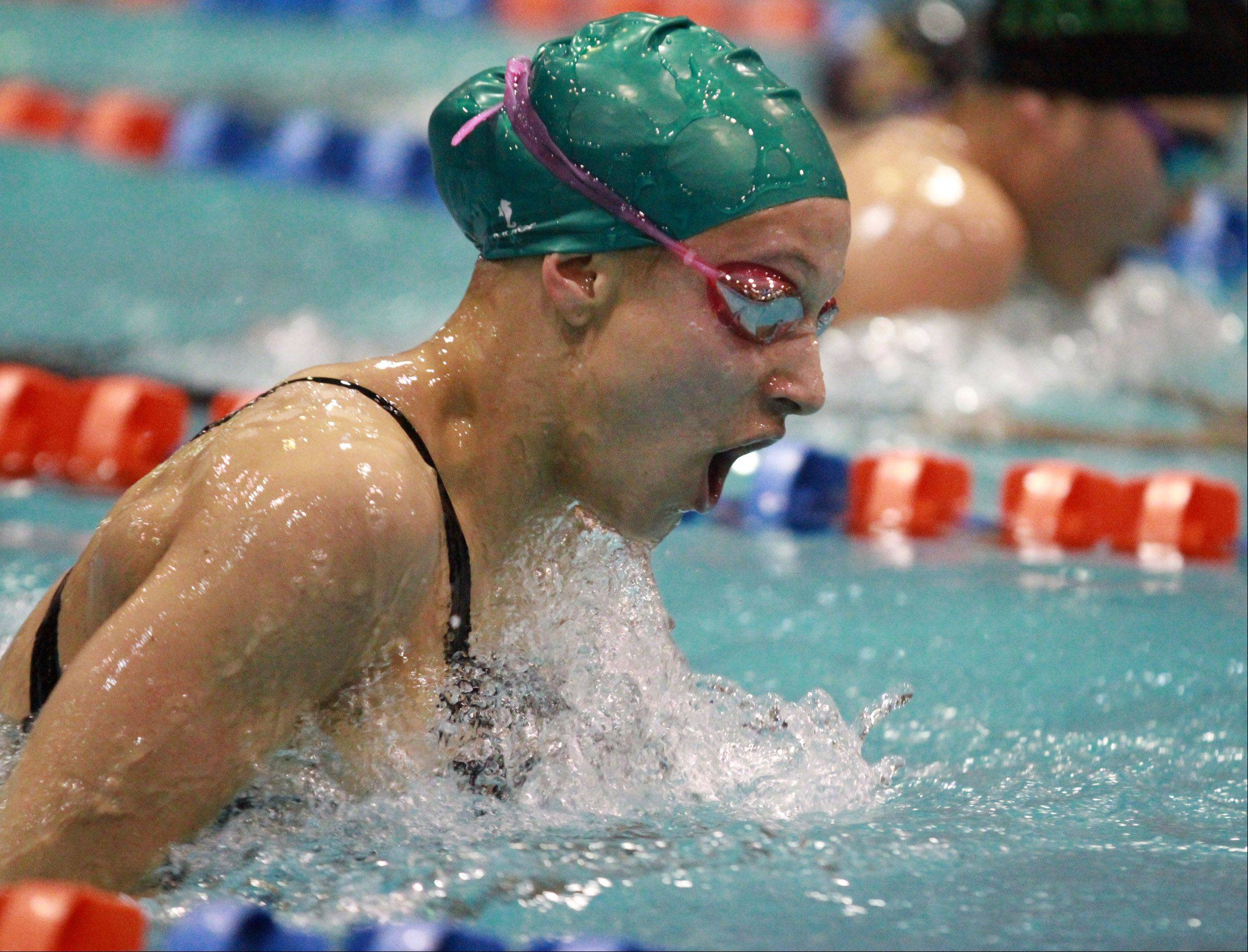 Grayslake Central's Claire Haggerty swims the 200-yard individual medley at state preliminaries in Evanston on Friday.