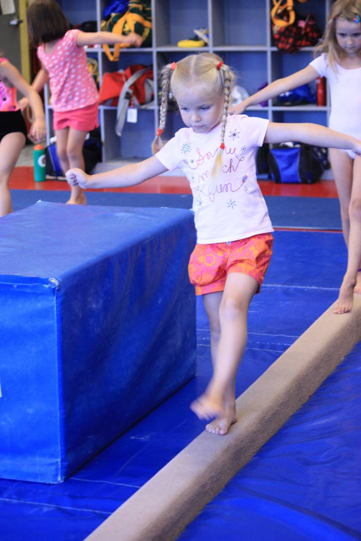 Preschool Gymnastics classes help with balance, coordination and more.