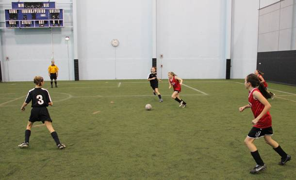 Girls compete in last year's Schaumburg Showdown 3v3 Soccer Tournament at the Sport Center.