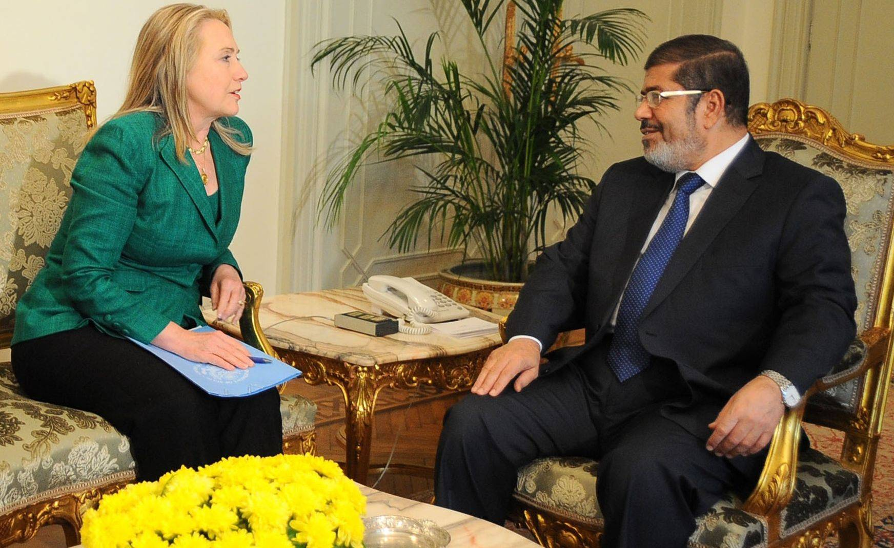 Secretary of State Hillary Rodham Clinton meets with Egyptian President Mohammed Morsi in Cairo Wednesday. Morsi�s job brokering an Israeli-Palestinian cease-fire has re-established Egypt�s major role in Mideast affairs.