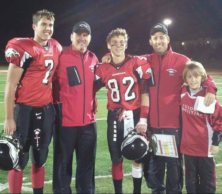 Brothers Don and David Beebe run Aurora Christian�s offense and defense, respectively. They are pictured here after a win over Winnebago in the quarterfinals: from left, nephew and Eagles quarterback Ryan McQuade, head coach Don Beebe, Don�s son Chad Beebe, defensive coordinator David Beebe and David�s son, Caleb.