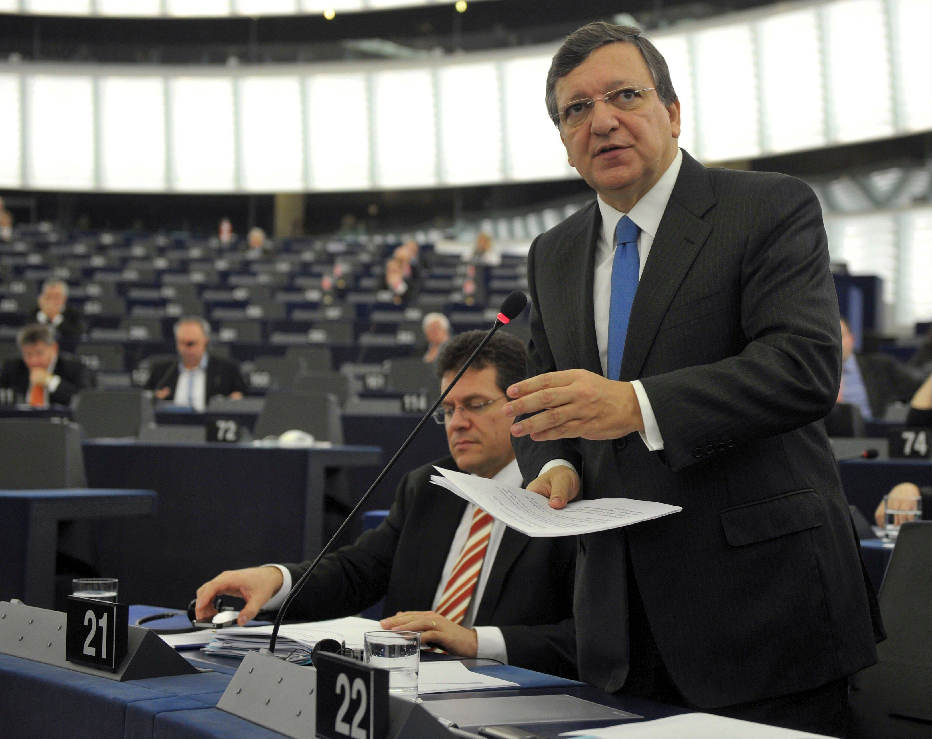 President of the European Commission Jose Manuel Barroso delivers his speech, Wednesday at the European Parliament in Strasbourg, eastern France.