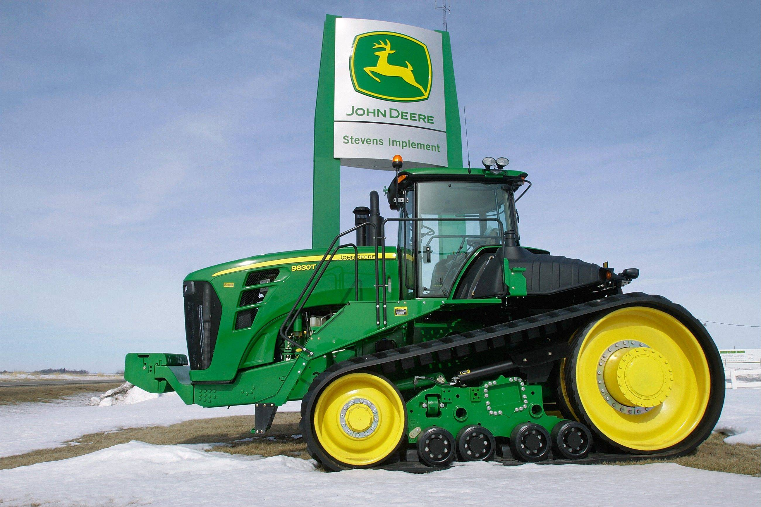 A John Deere tractor at the Stevens Implement Company, a John Deere dealership, in Petersburg.