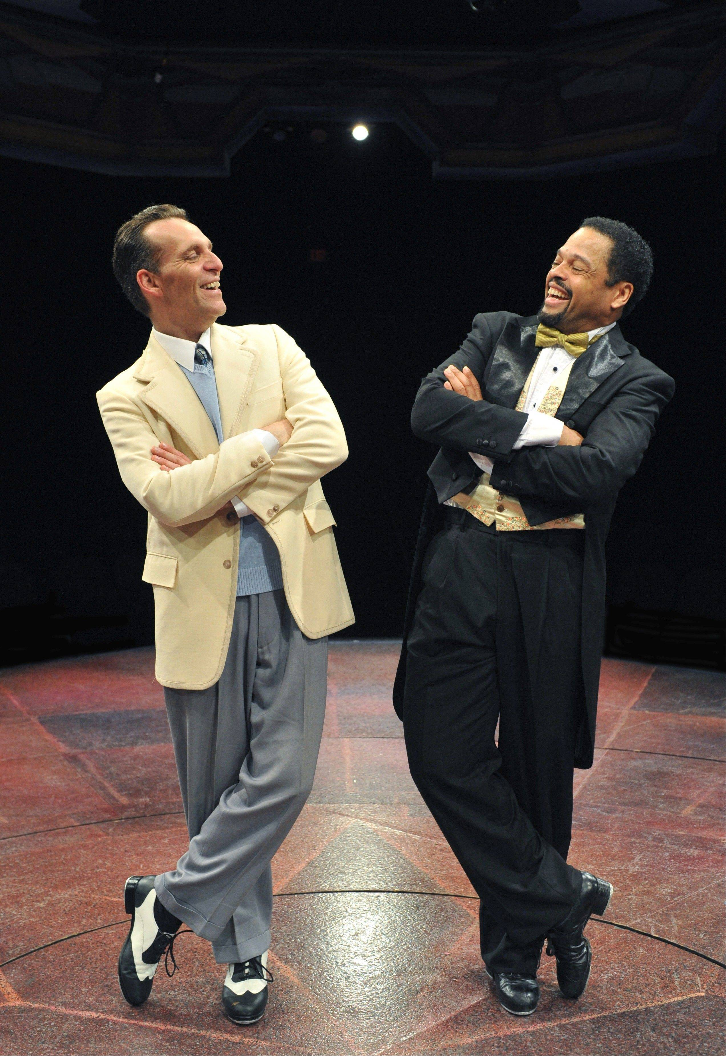 "Andrew Lupp, left, and Ted Louis Levy match each other step-for-step in the terrific titular number from Marriott Theatre's ""My One and Only."""
