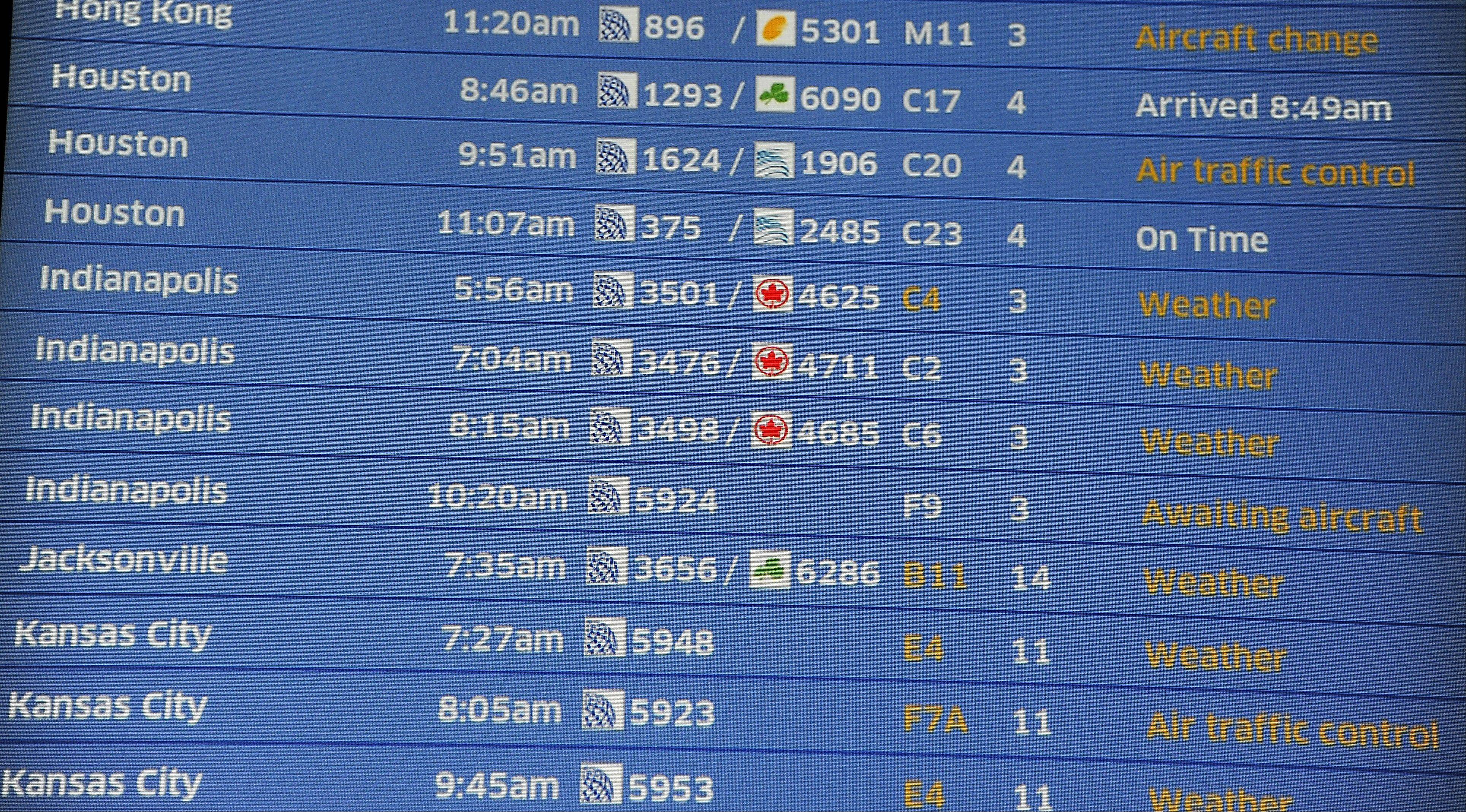 Weather delays popped up on the flight departures board at Chicago's O'Hare International Airport. Many flights were delayed by morning fog.