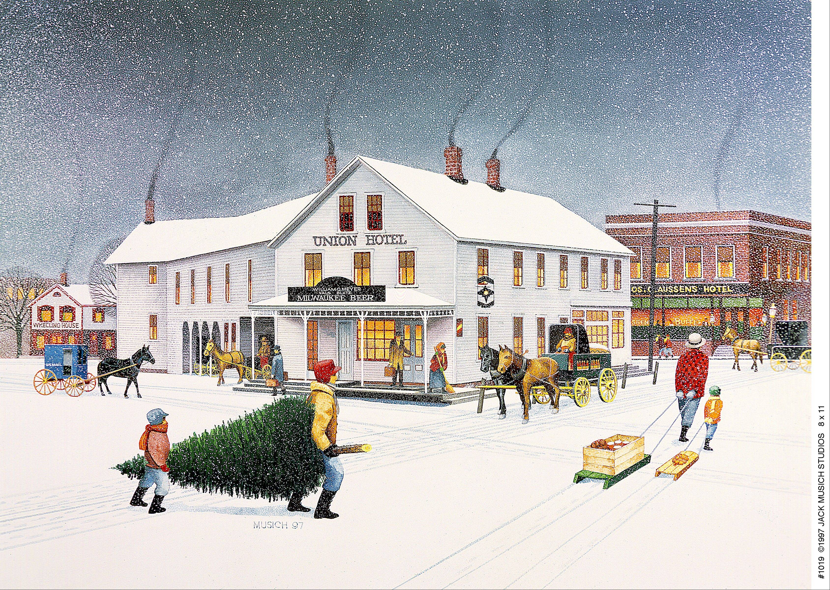 This painting by Jack Musich depicts Arlington Heights around the mid-1800s. The Union Hotel is in the background.