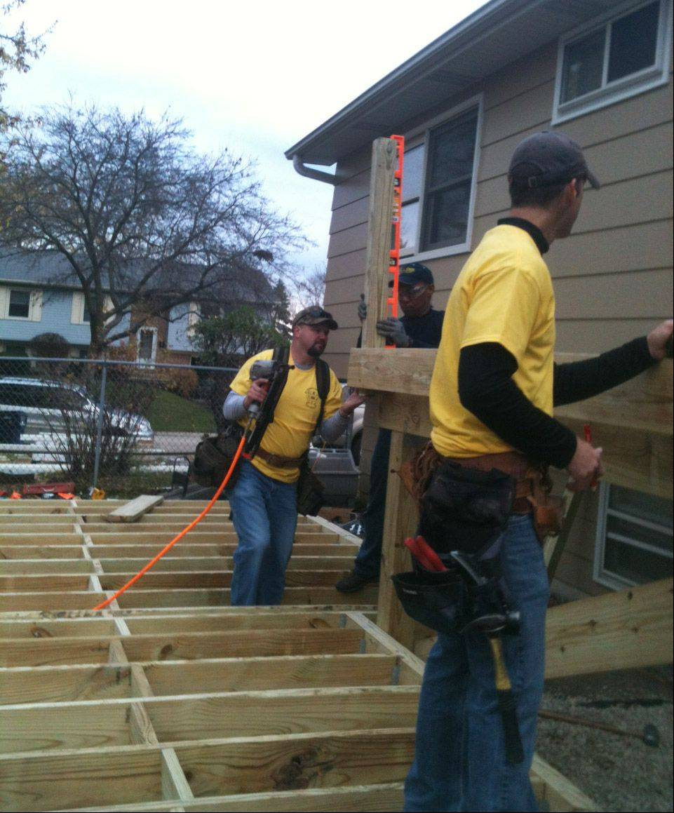 Volunteers from a Lake Zurich neighborhood banded together to build a deck for 10-year-old Harrison Brodeur, who's autistic. The neighbors knew how much Harrison enjoys being outside, but noticed the former deck at his family's home was crumbling.