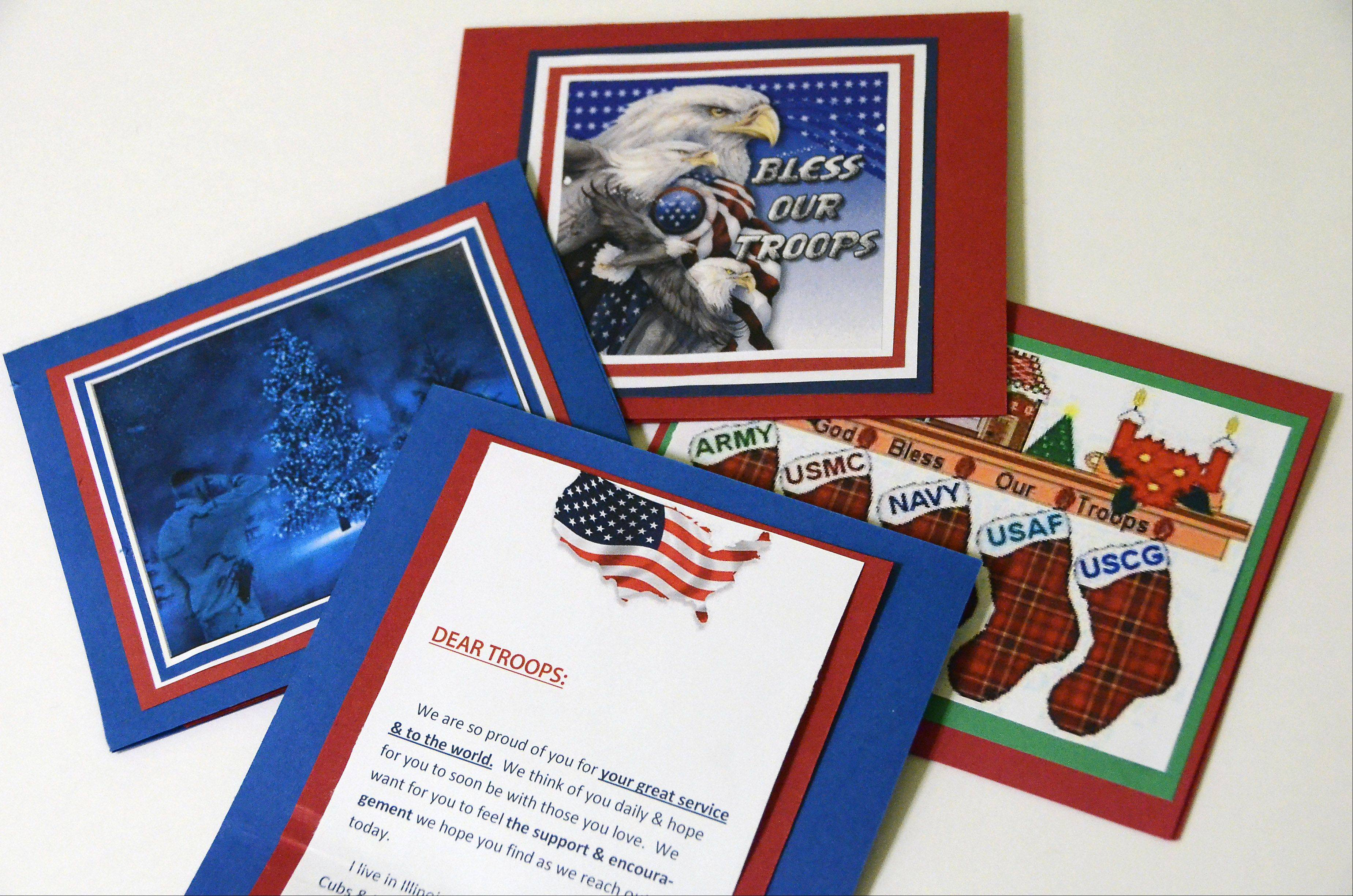 "Cheryl Talaczynski of Arlington Heights handicrafts greeting cards to send to troops facing challenges after returning from serving overseas. ""This is just one tiny, little thing I can do to show my appreciation and hopefully bring them a little happiness,"" she said."