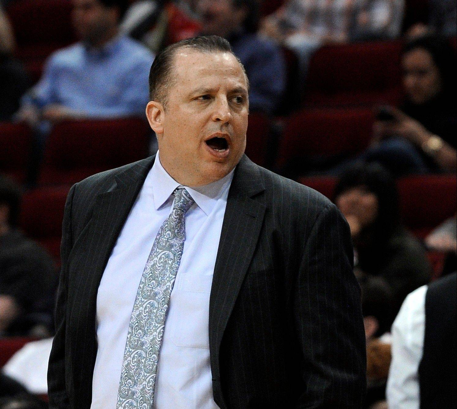 Coach Tom Thibodeau watched the Bulls lose their third straight game Wednesday night, the first time that's happened during his tenure with the Bulls.