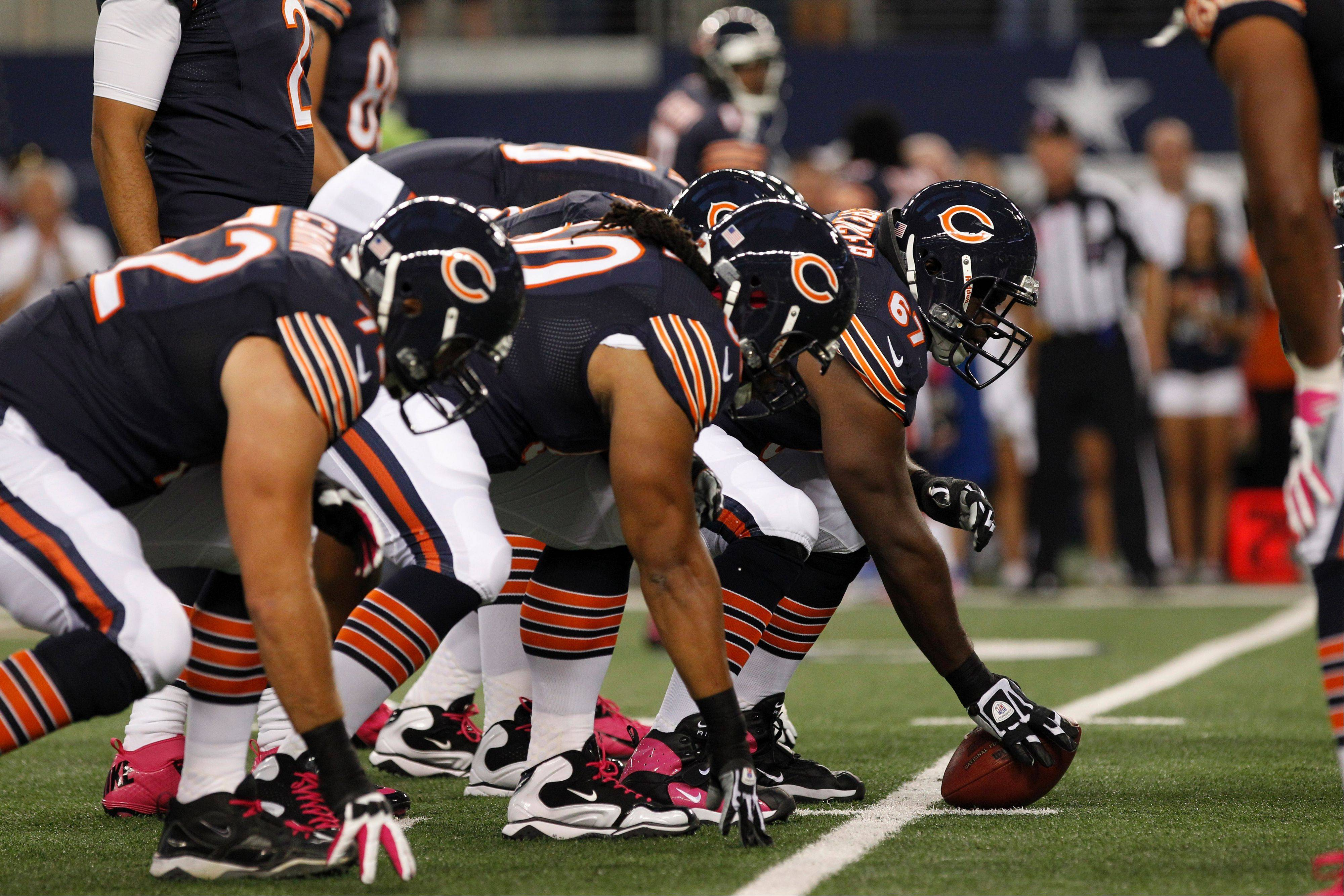 The Bears offensive line will have at least one change on Sunday with left guard Chilo Rachal ruled out. More changes also are possible.