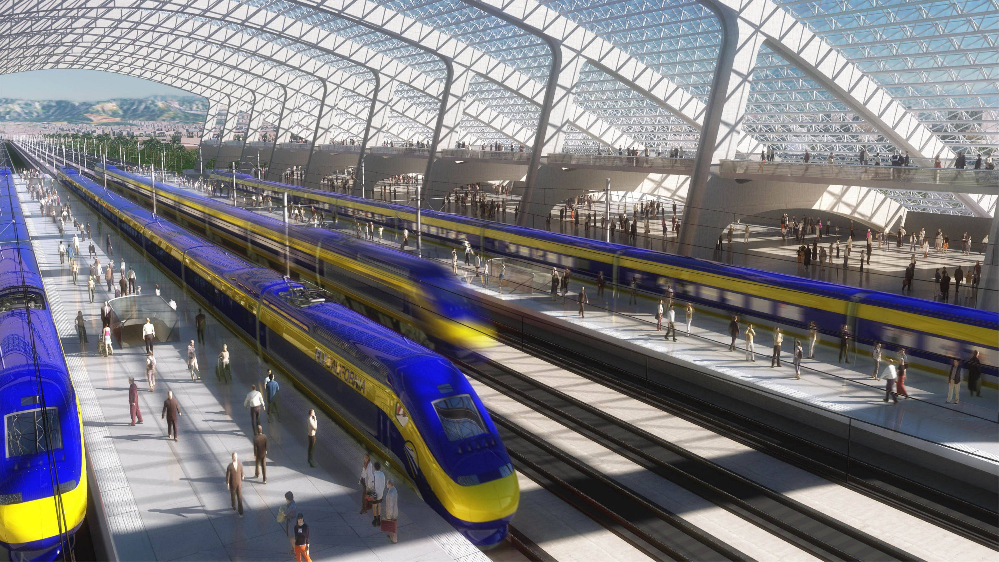 This is an artist�s rendering of a high-speed train station designed for California�s proposed system. Illinois high-speed rail efforts have taken a modest step forward recently with a new top speed of 110 mph over a short section of the Amtrak route between Chicago and St. Louis.