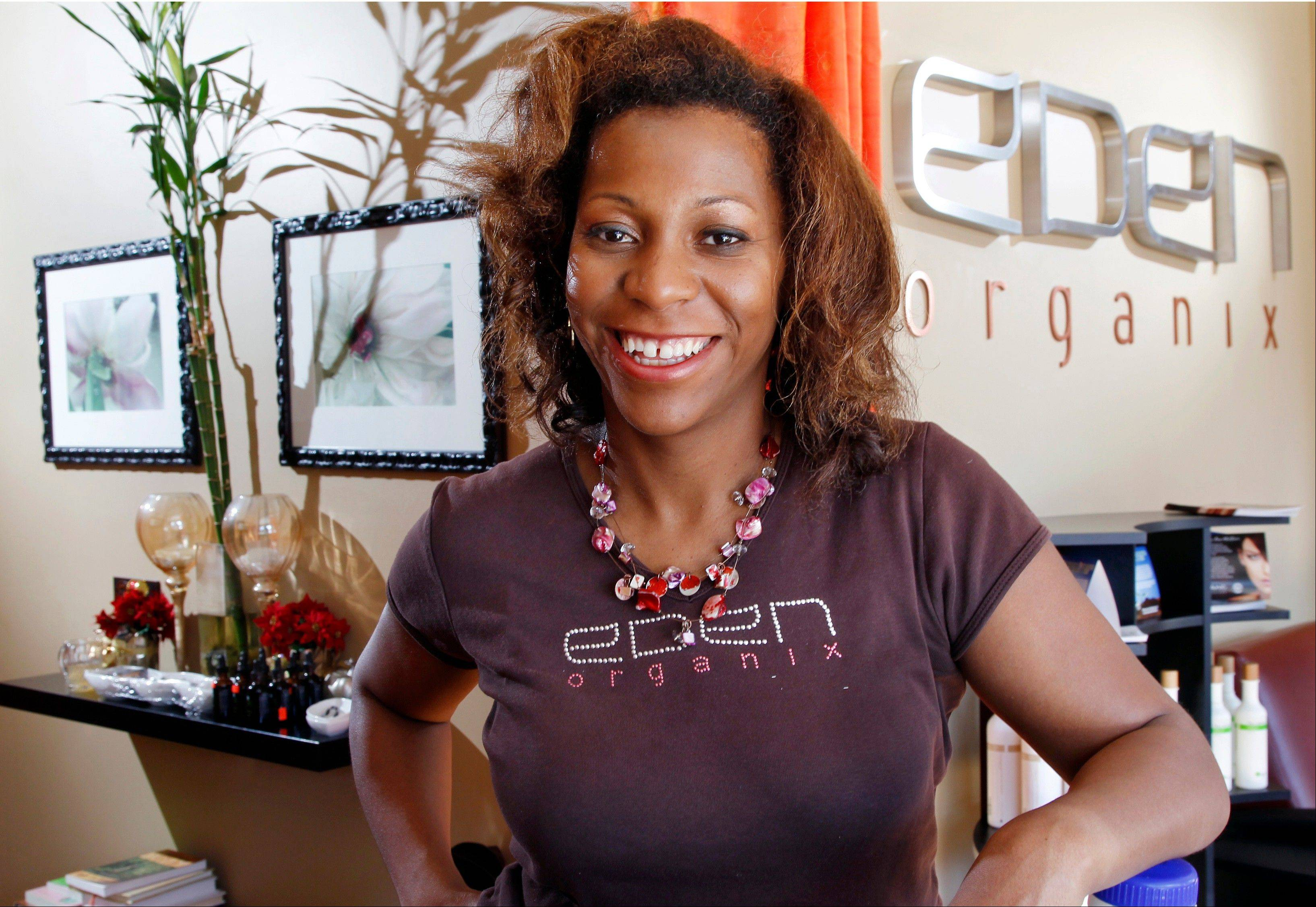 Eden Organix spa owner Valerie Mason-Robinson poses for a photograph in her spa in Highland Park, N.J.