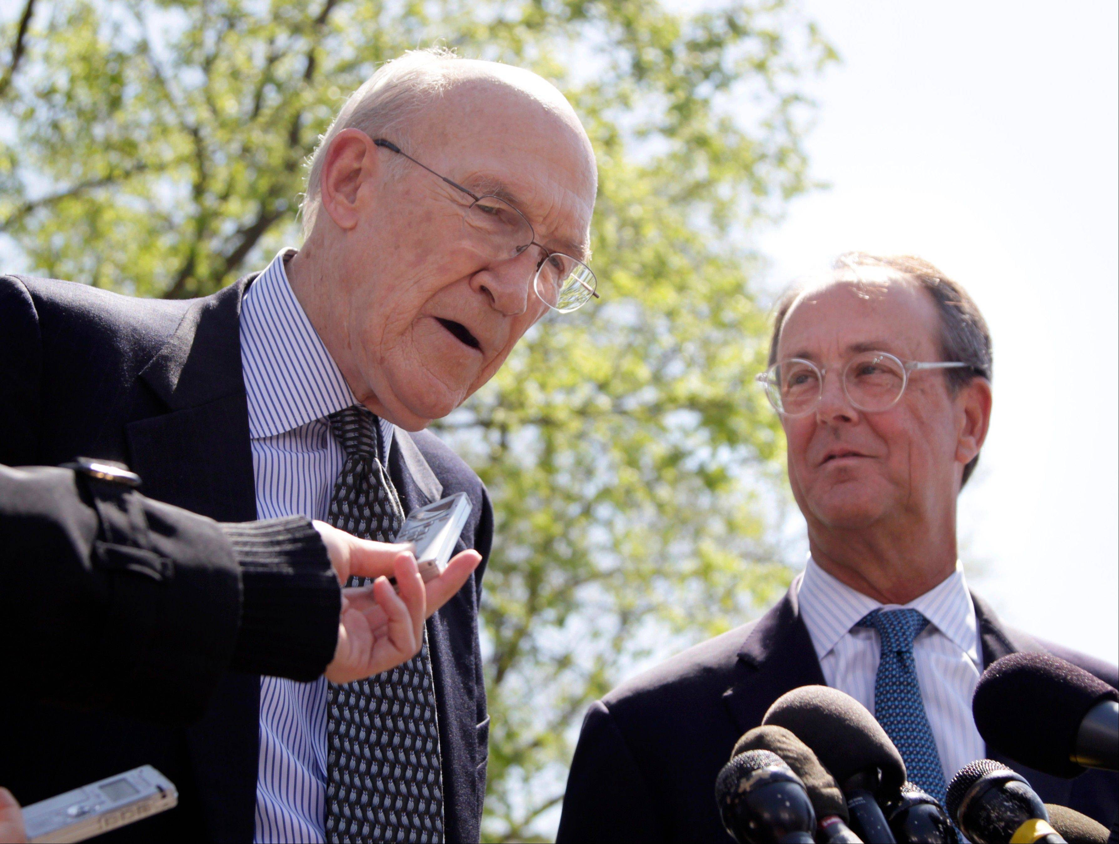 Erskine Bowles, right, Alan Simpson, co-chairmen of the president's deficit reduction commission, are seen outside the White House in this file photo from April 14, 2011. Lobbyists, advocates and trade groups are fighting fight to shape the government's response to the looming fiscal cliff.
