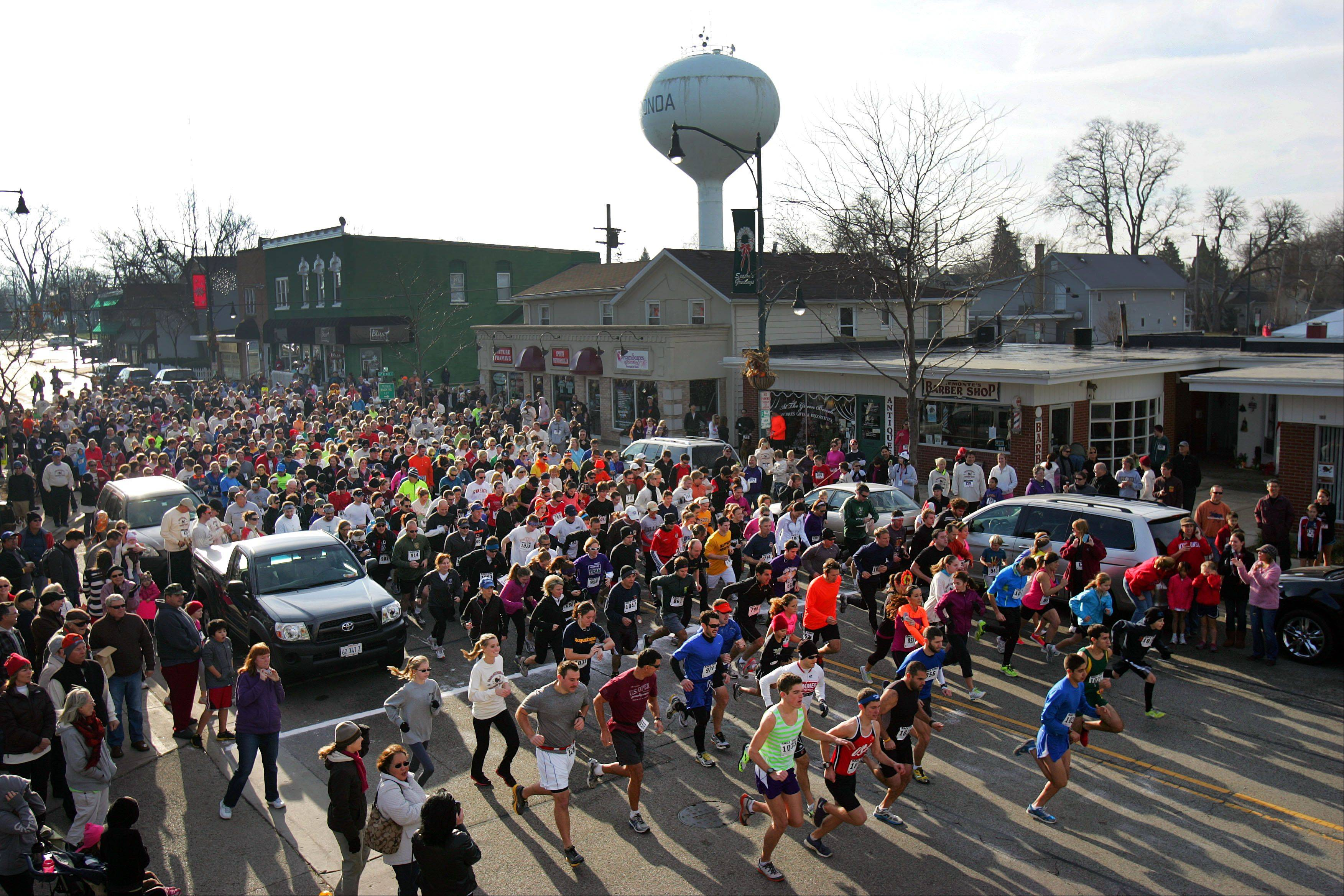 About 800 runners dash at the start of the second annual Wauconda Turkey Trot.