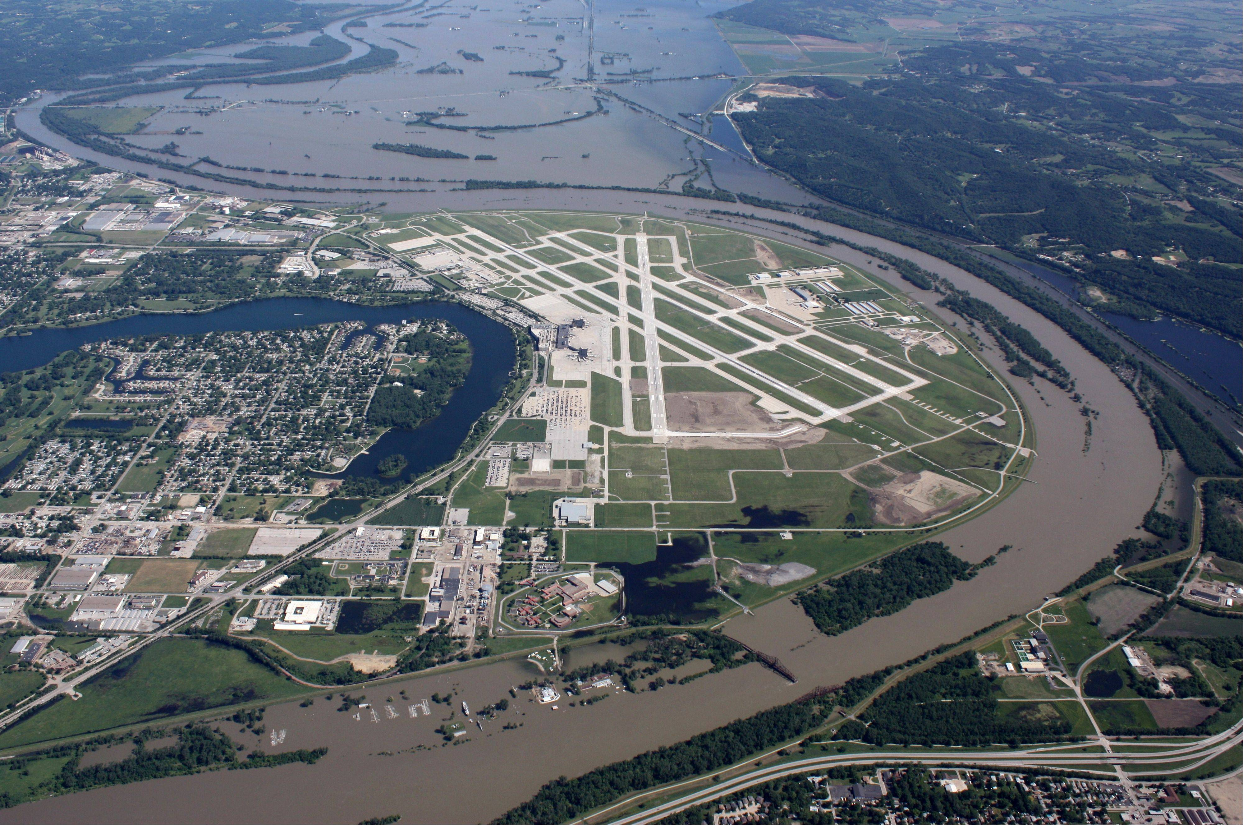 Extreme weather isn't isolated to the coasts. Here flooding is seen threatening the Omaha Airport in Nebraska in June 2011.