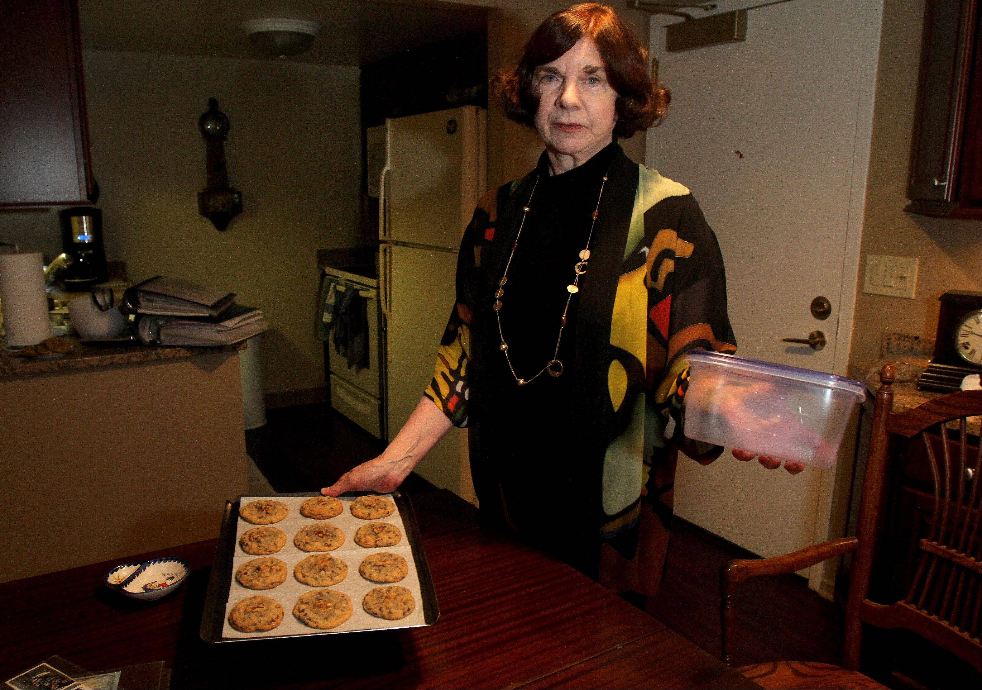 Candy Bishop of Lombard volunteers for the nonprofit Soldiers' Angels, baking cookies and writing letters to more than 4,000 soldiers, airmen, Marines and sailors in four years.