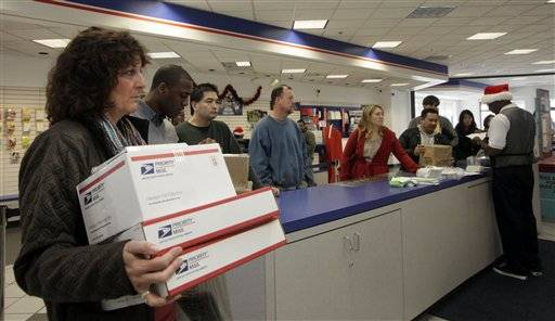 People in line at the U.S. Postal Service Airport station in Los Angeles. Emboldened by rapid growth in e-commerce shipping, the cash-strapped U.S. Postal Service is moving aggressively this holiday season to start a premium service for the Internet shopper seeking the instant gratification of a store purchase: