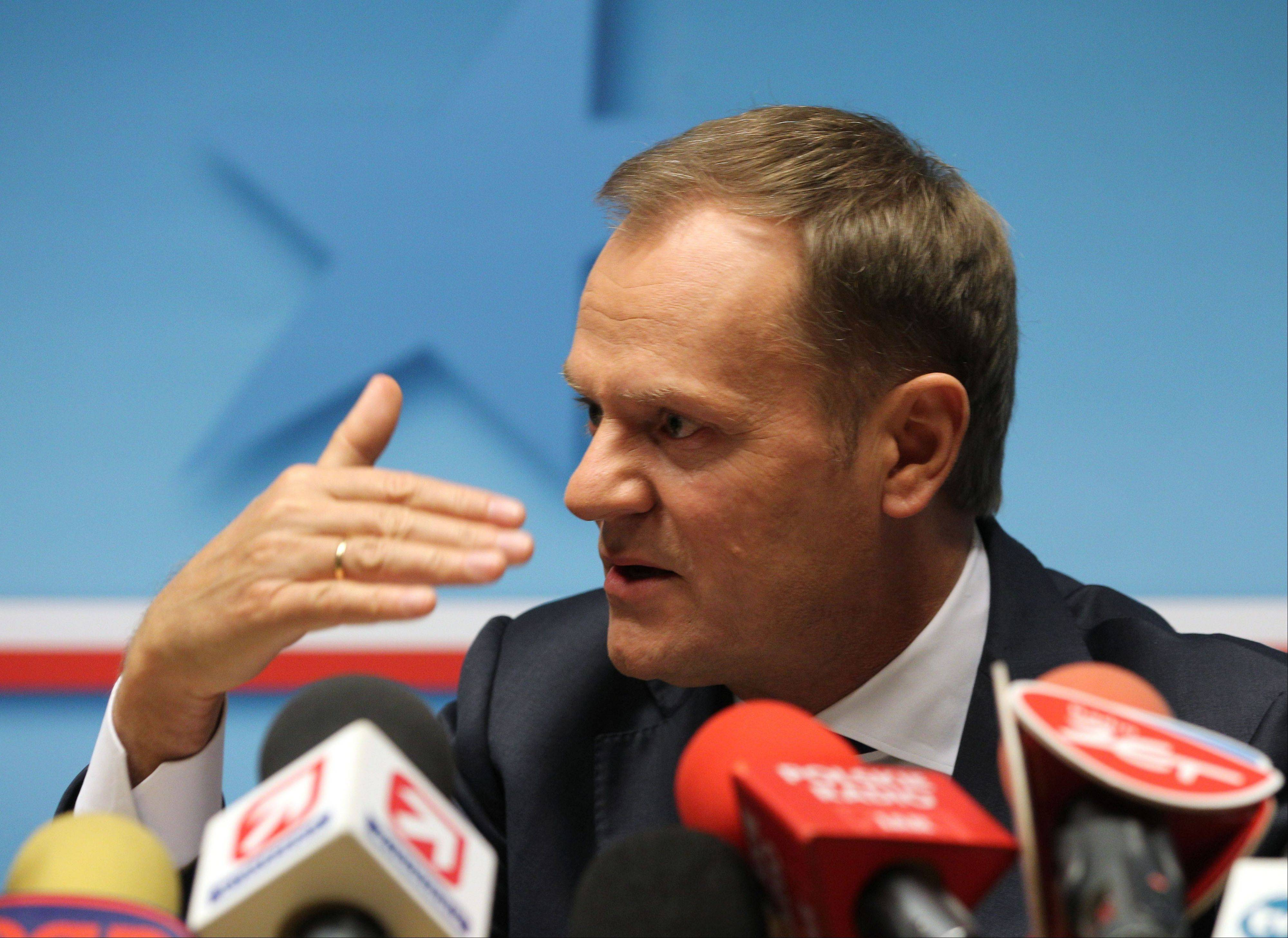 Poland's Prime Minister Donald Tusk addresses the media at the end of a two-day EU summit in Brussels on Friday, Nov. 23, 2012. The Brussels summit has ended without an agreement on the 27-member union's next seven-year budget.