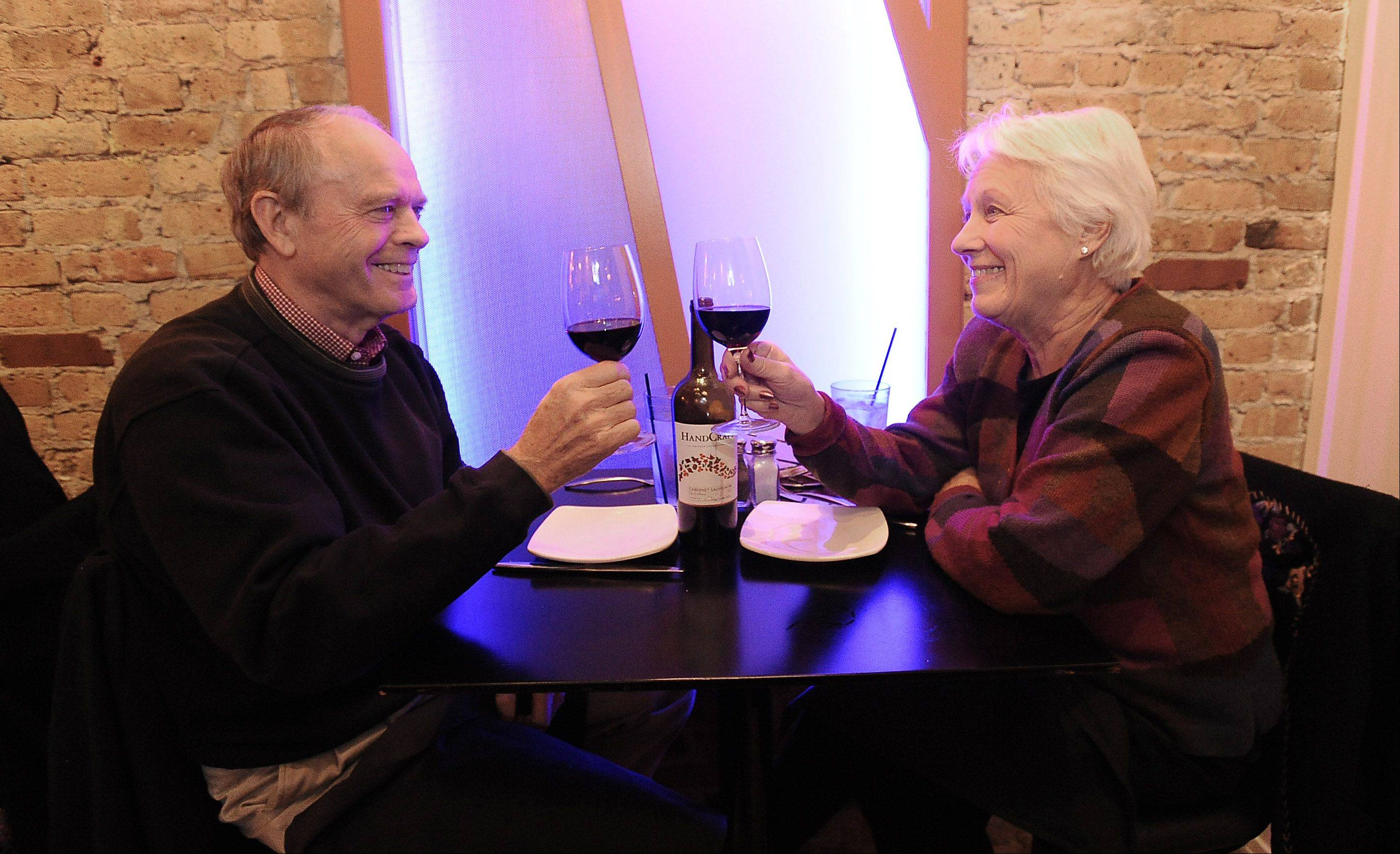 Vaughn and Barbara Simon of Barrington enjoy glasses of wine at The Annex in Barrington.